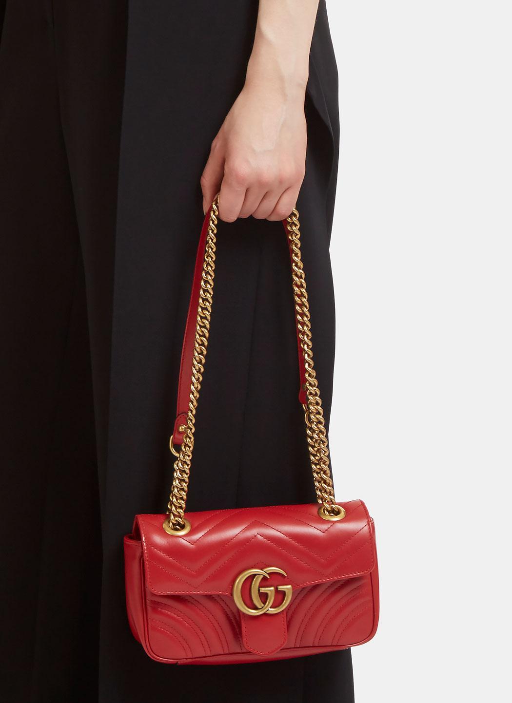 99a0de2a98d4 Gucci Gg Marmont Matelassé Mini Chain Shoulder Bag In Red in Red - Lyst