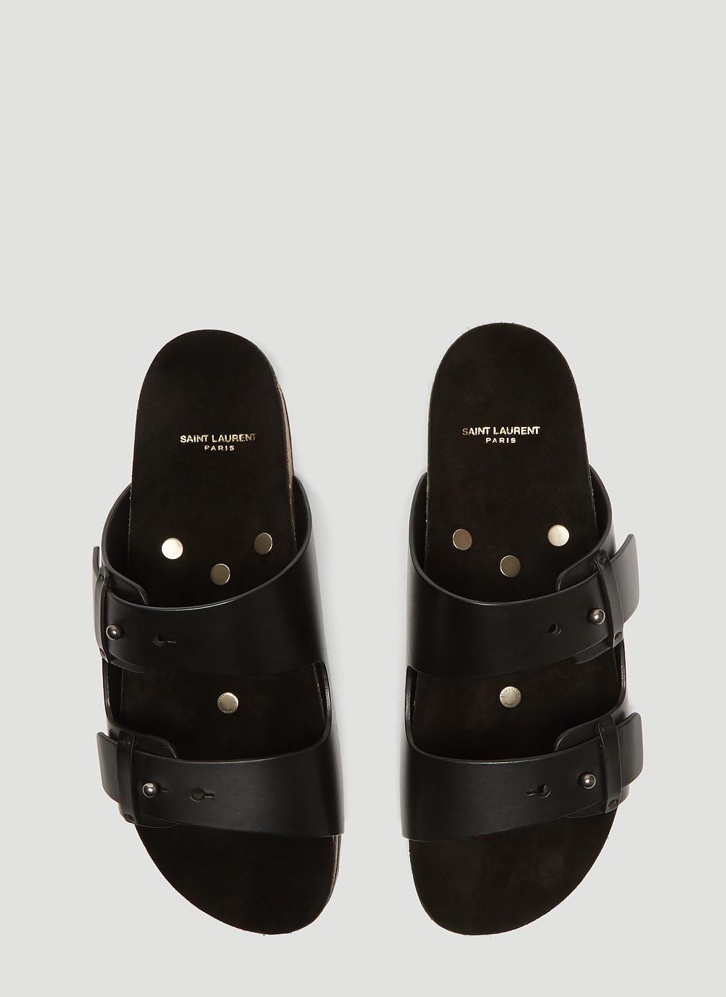 298d2b129436 Saint Laurent - Black Jimmy Sandal With Leather Strap for Men - Lyst. View  fullscreen