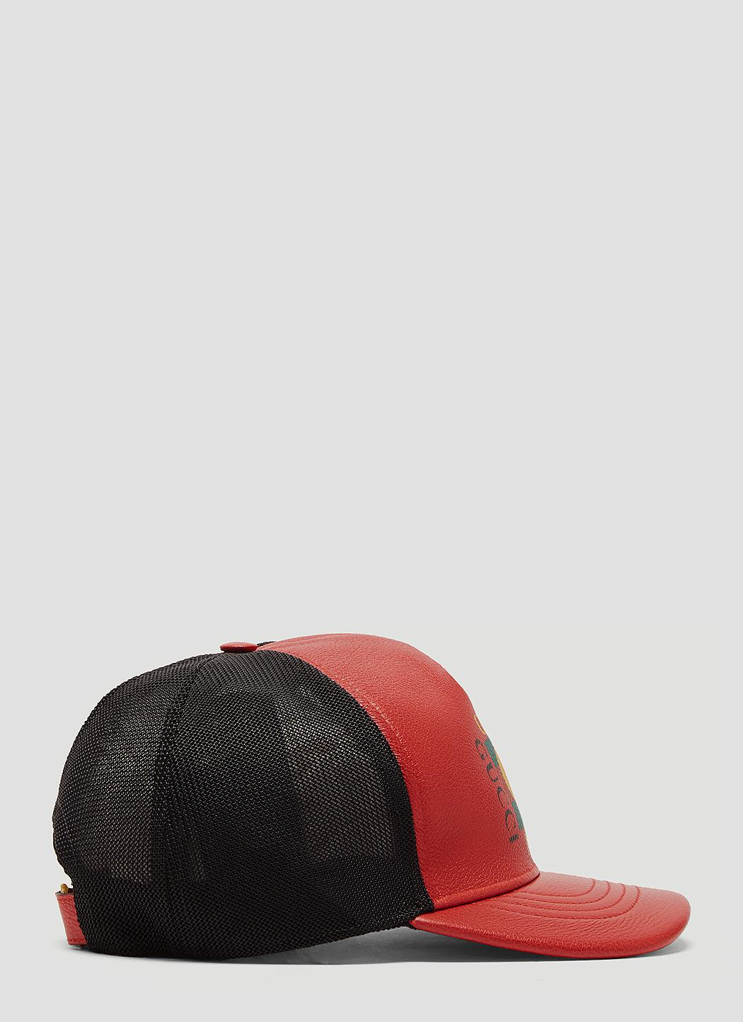 4bca255facc Gucci Print Leather Baseball Hat in Red for Men - Save 35% - Lyst