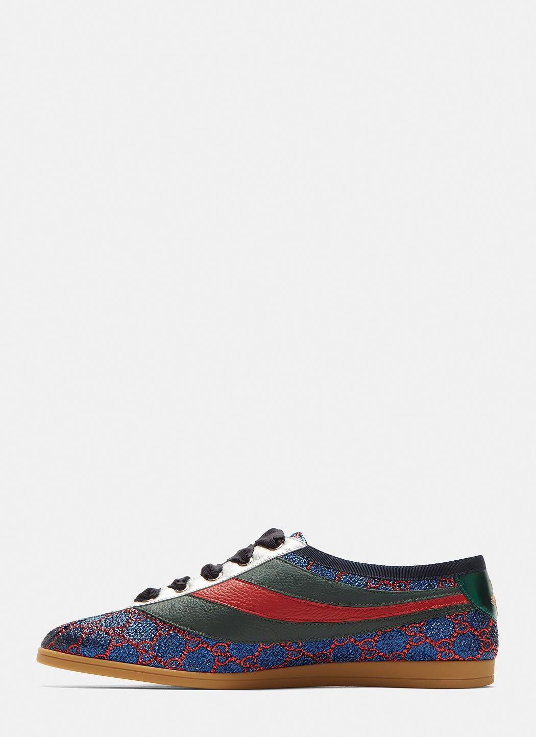 f175cdf84 Gucci Falacer Lurex GG Sneaker With Web in Blue for Men - Lyst