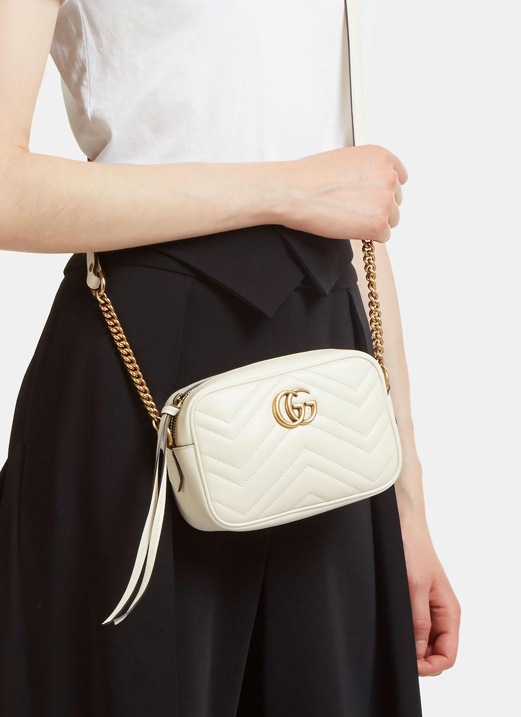 bf710a4b59f8 Lyst - Gucci Gg Marmont Matelassé Mini Bag In Ivory in White