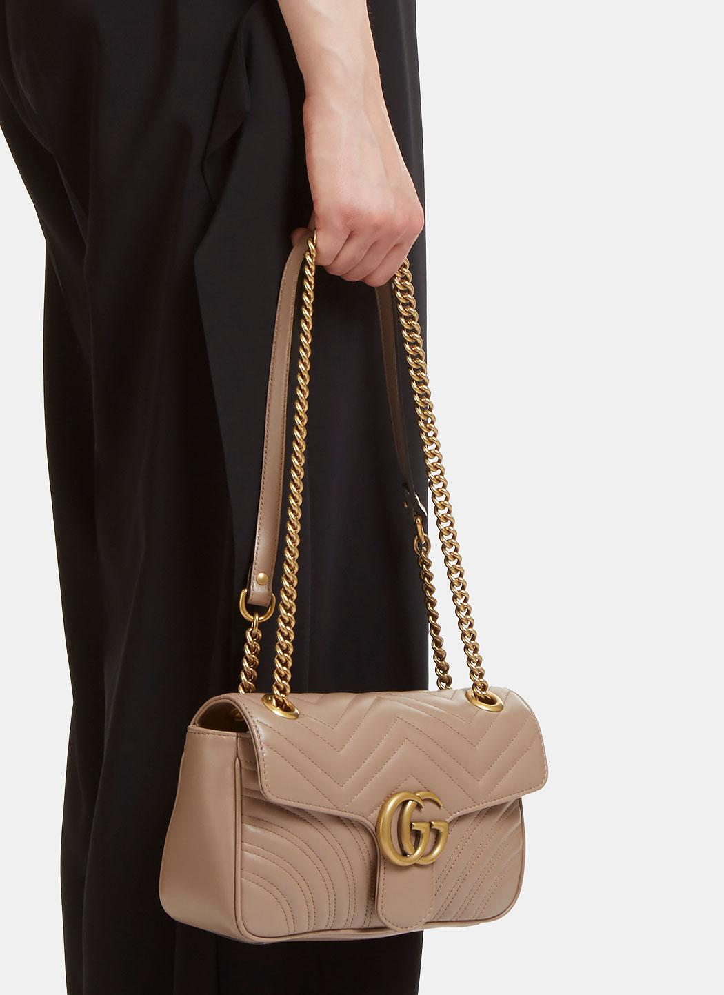 46dbec230b3a Gucci Gg Marmont Matelassé Small Chain Shoulder Bag In Taupe in ...