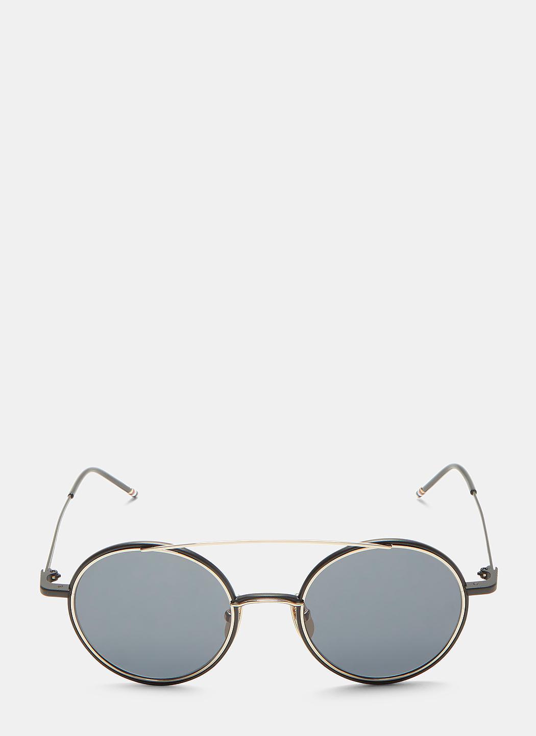 32f8e0fc7 Thom Browne Bridged Gold-rimmed Matte Round Sunglasses In Black And ...