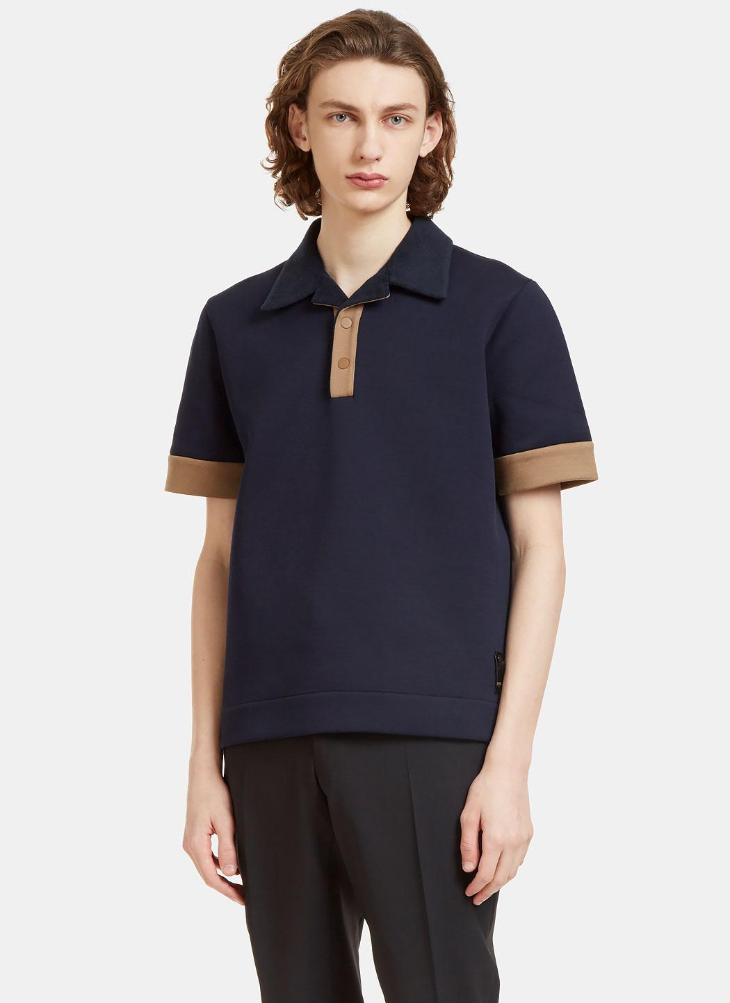 Lyst fendi men 39 s terry cloth collared technical polo for Mens terry cloth polo shirt
