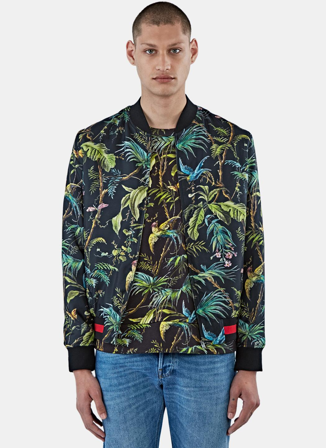Lyst Gucci Men S Satin Tropical Print Bomber Jacket In