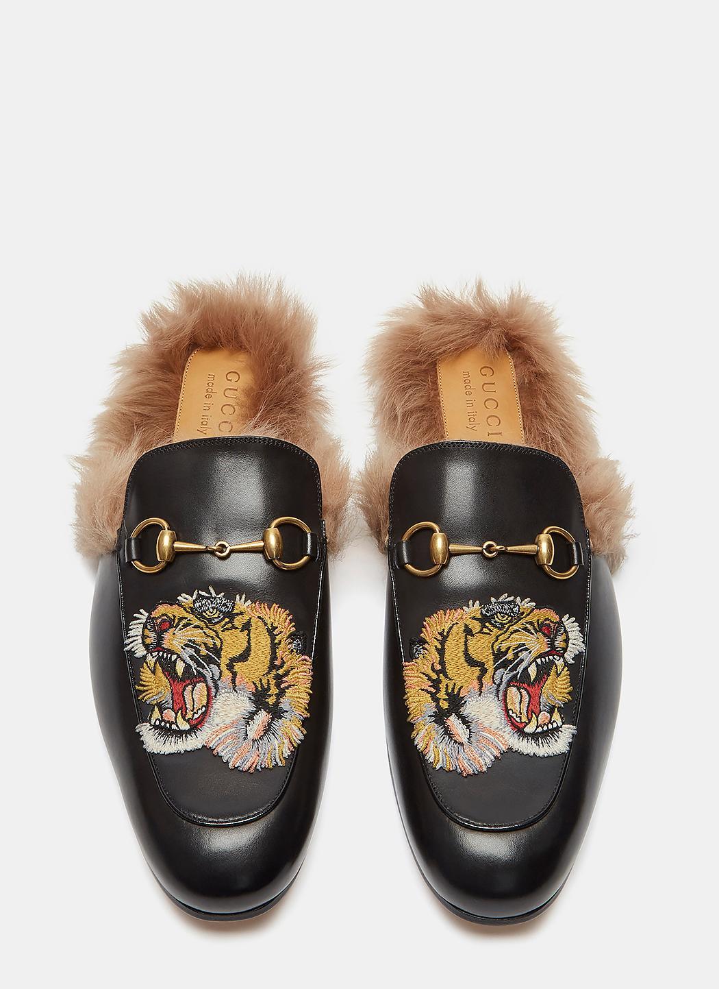 Men\u0027s Princetown Tiger Embroidered Fur Slip,on Loafers In Black