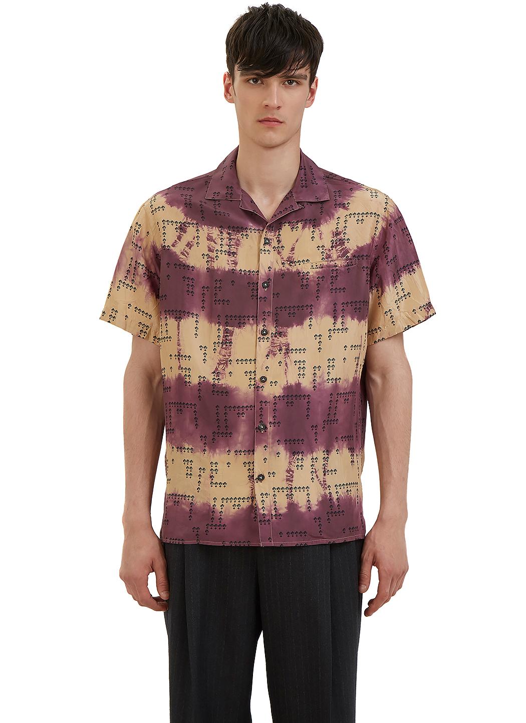 Lanvin men 39 s tie dye floral printed bowling shirt in for Tie dye printed shirts