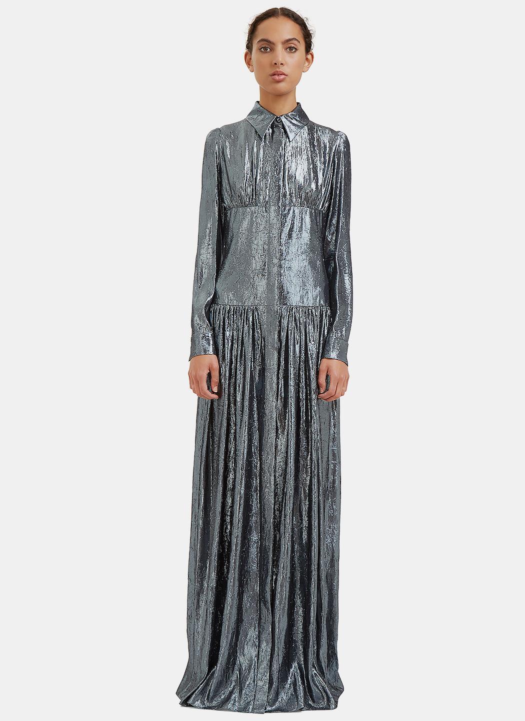 Lanvin Women 39 S Long Metallic Lurex Shirt Dress In Silver