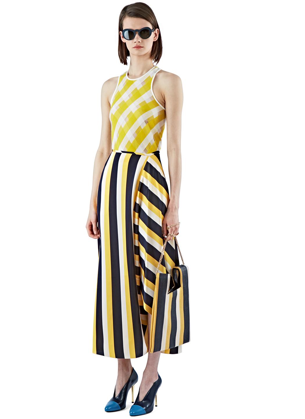 Long black yellow sport striped skirt