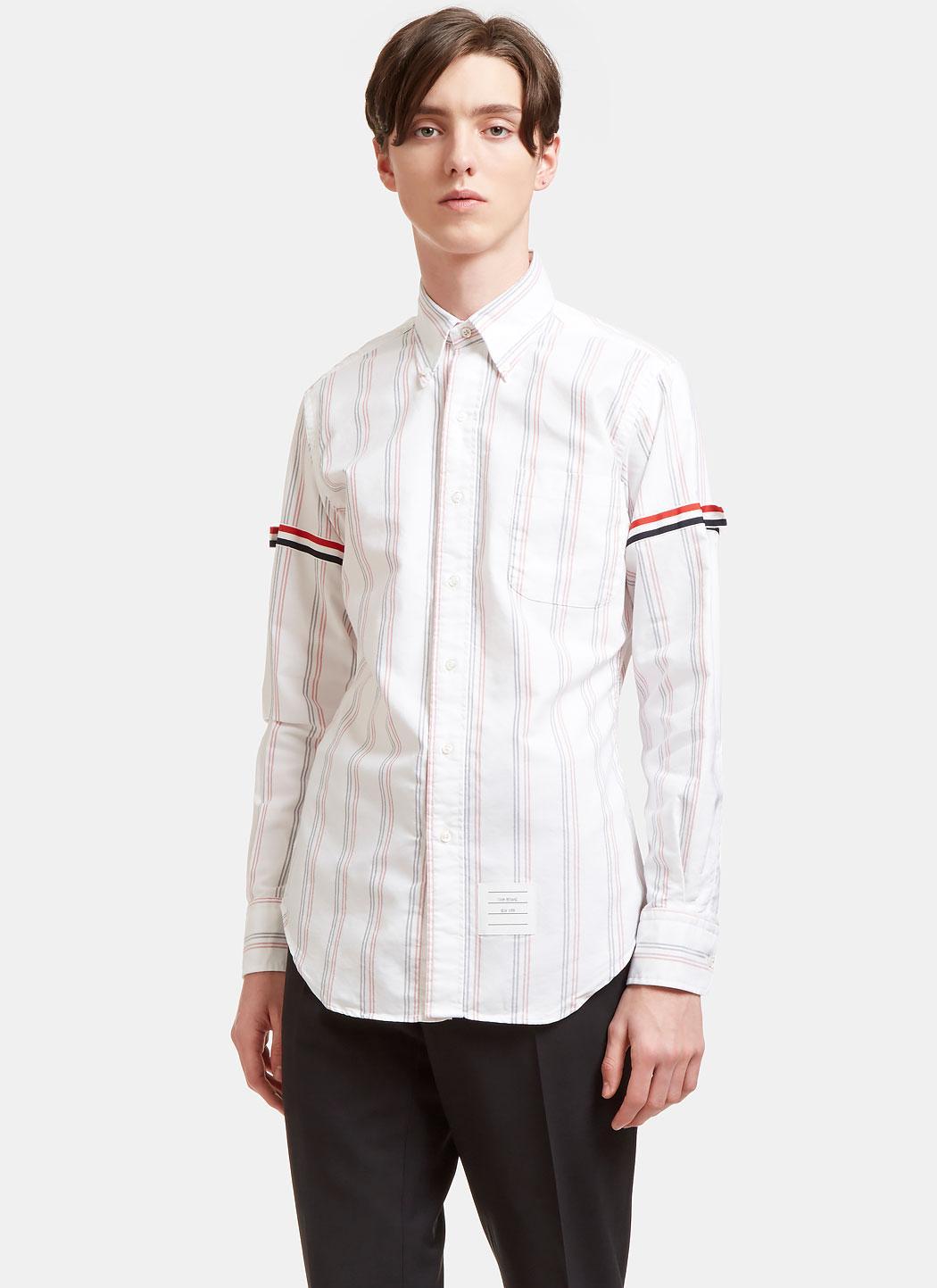 Thom browne men 39 s railway striped grosgrain ribbon armband for Thom browne white shirt