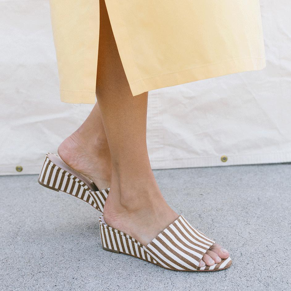 cef7b653ee Loeffler Randall Women's Tilly Striped Wedge Slide Sandals - Lyst