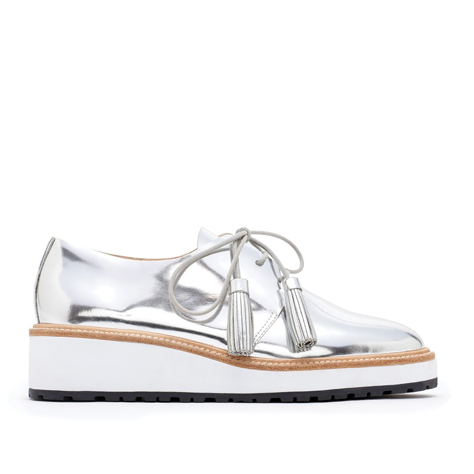 ecb409559b7 Lyst - Loeffler Randall Callie Leather Demi-wedge Oxford in Metallic
