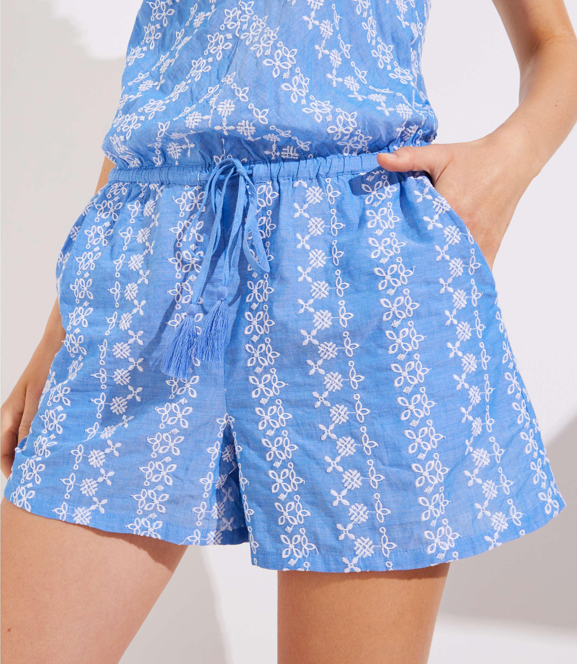 Loft Petite Floral Chevron Tie Waist Romper In Blue Lyst I Am Cotton Sleeveless Sea View Fullscreen