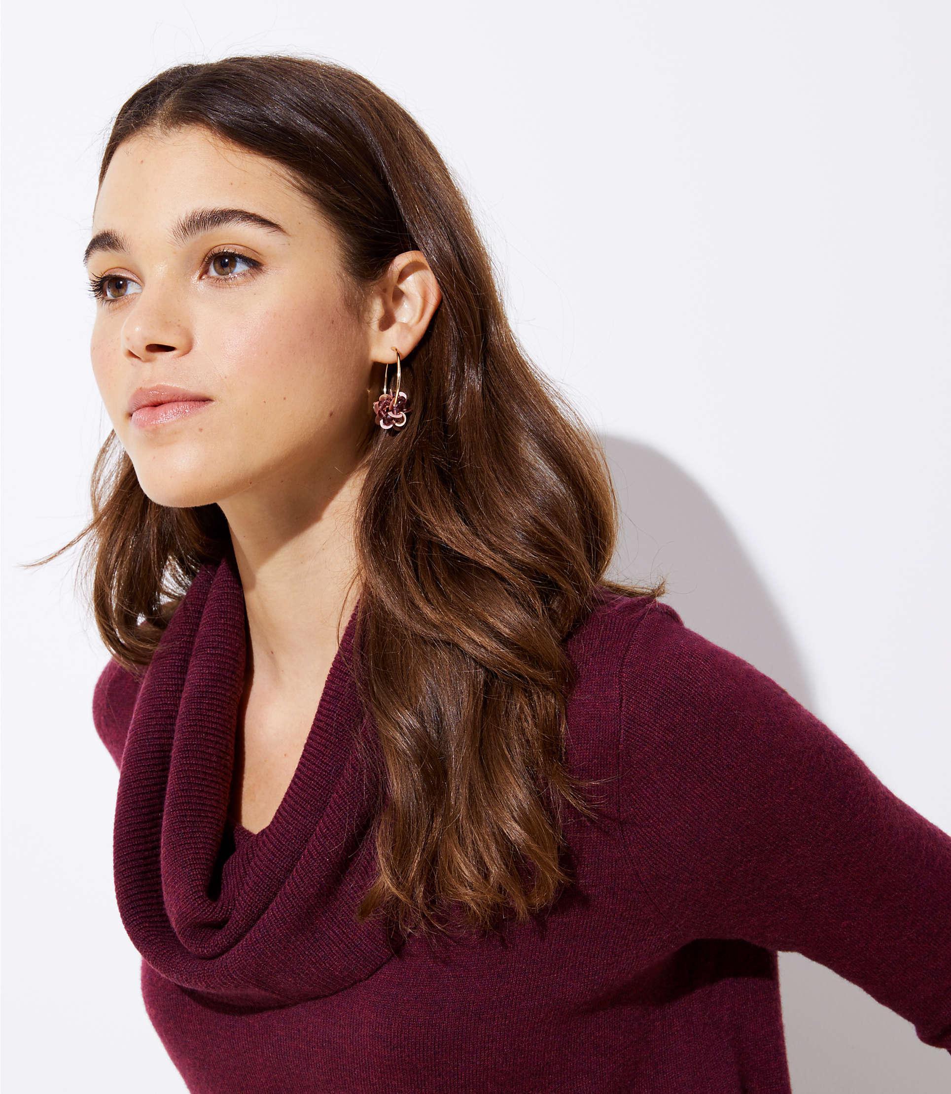 7cd8a21dbe6 LOFT - Purple Cowl Neck Tunic Sweater - Lyst. View fullscreen