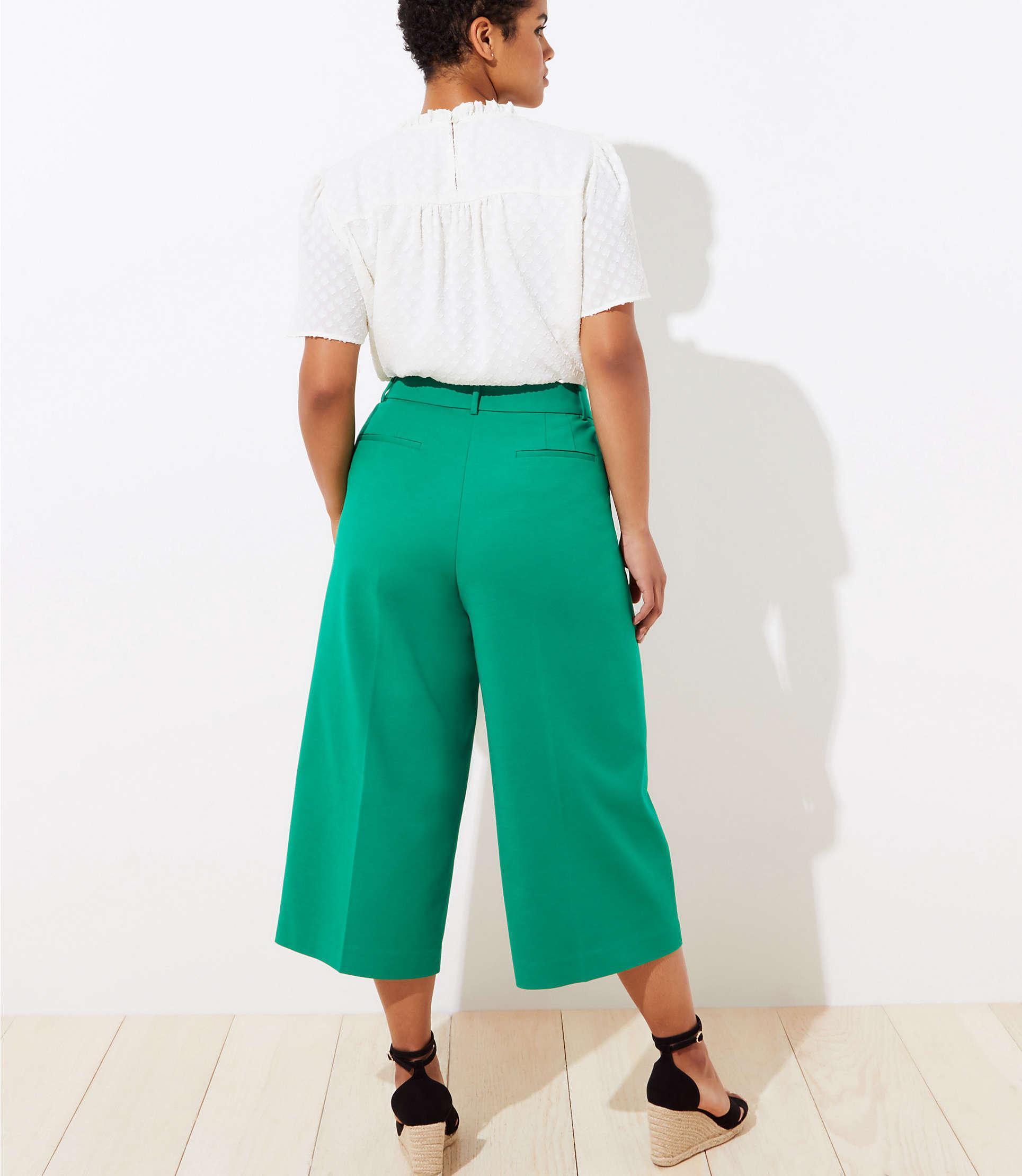 Loft Plus Wide Leg Riviera Pants In Green Lyst