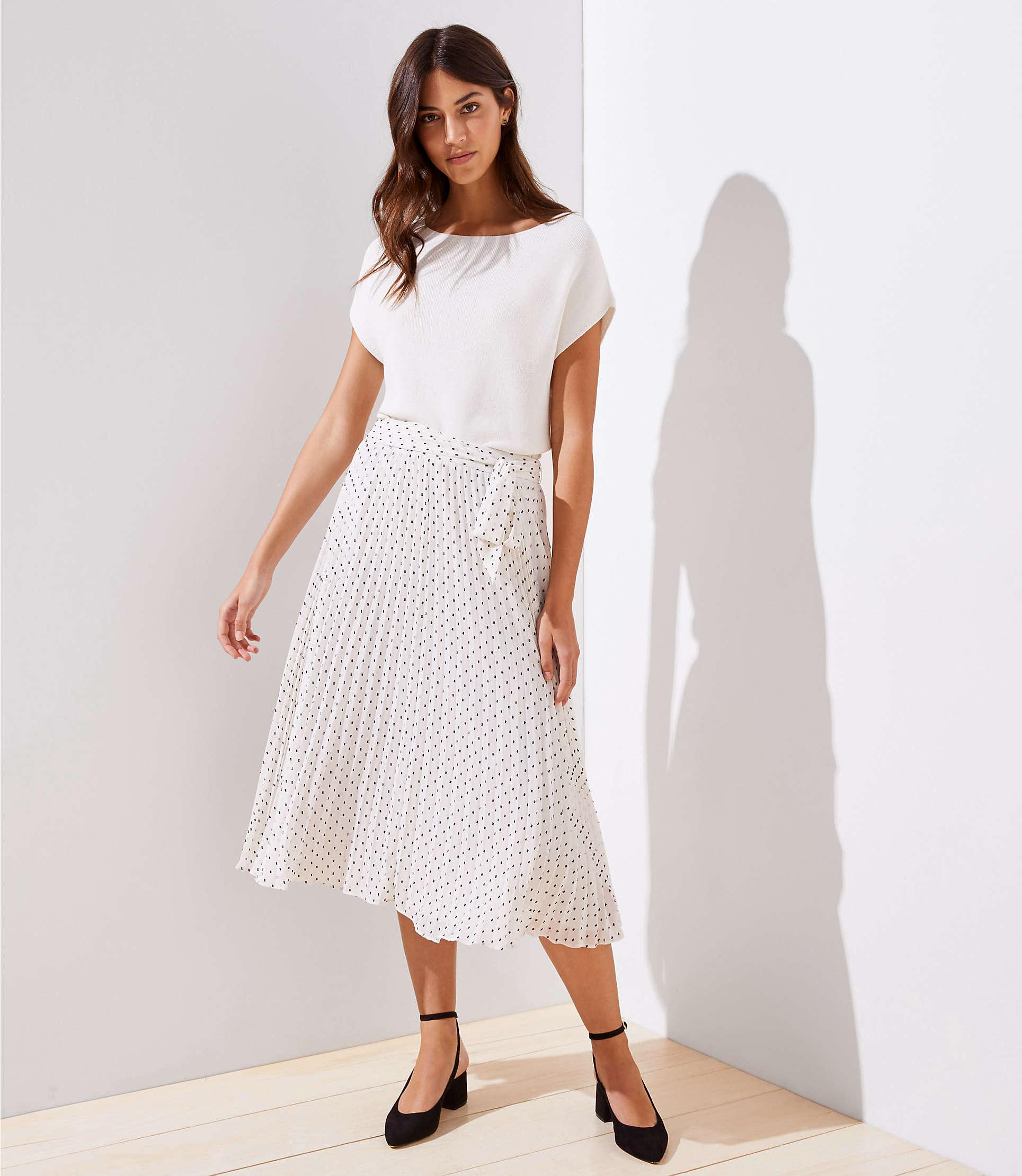 0bf91b9449d3 LOFT Petite Tie Waist Pleated Midi Skirt in White - Lyst