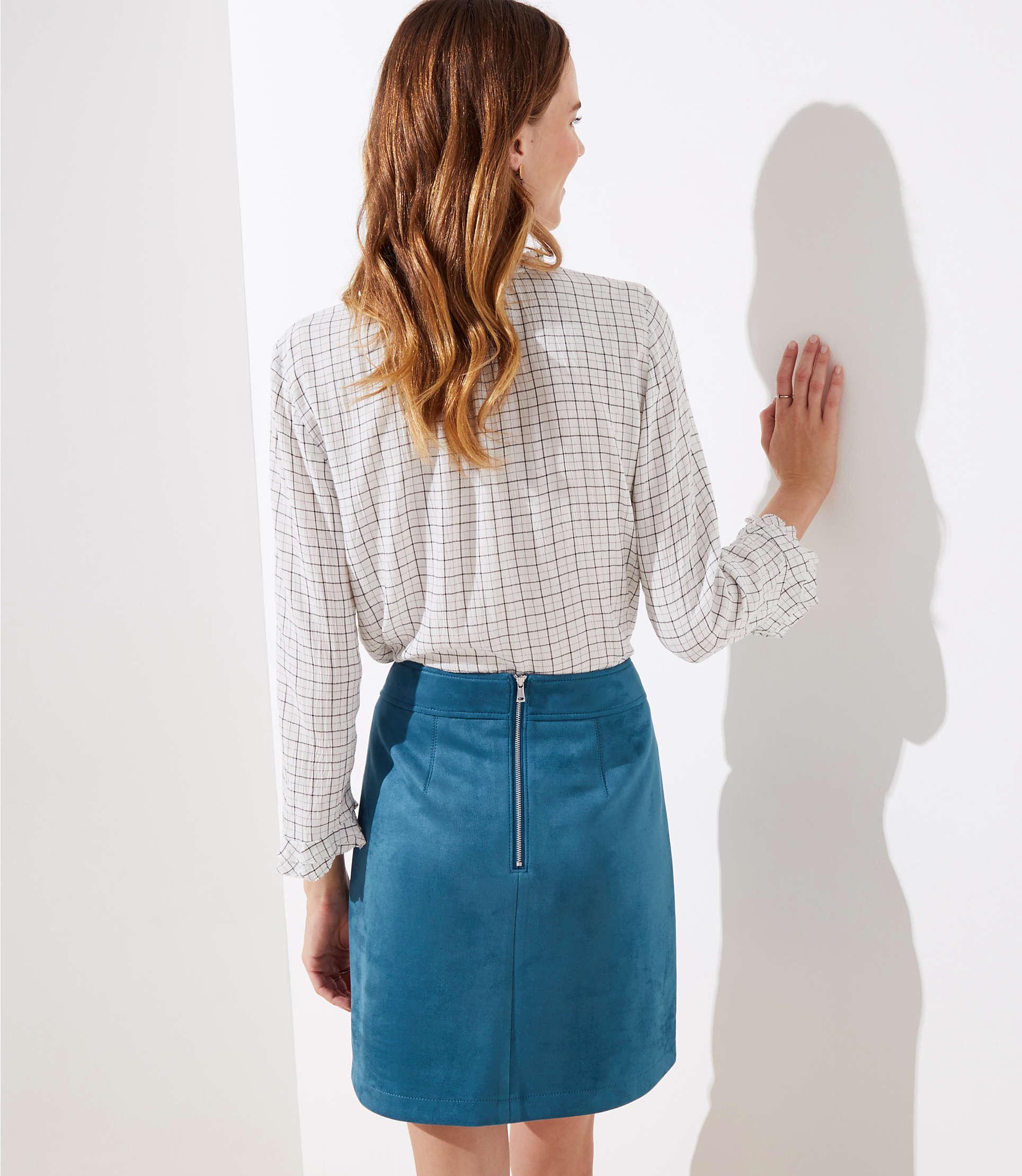 5b48adefa LOFT - Blue Faux Suede Pocket Shift Skirt - Lyst. View fullscreen