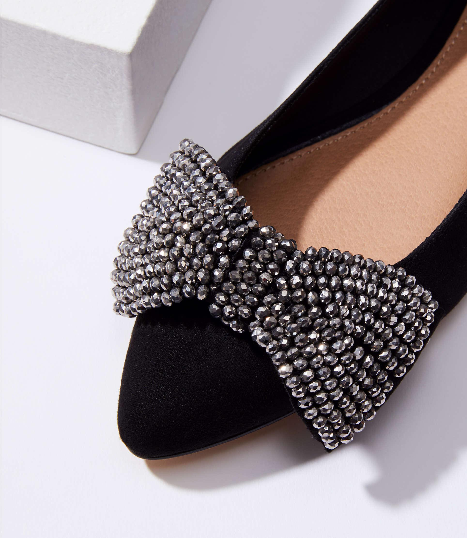 b7f3bdcb6dd0 Lyst - LOFT Jeweled Bow Flats in Black
