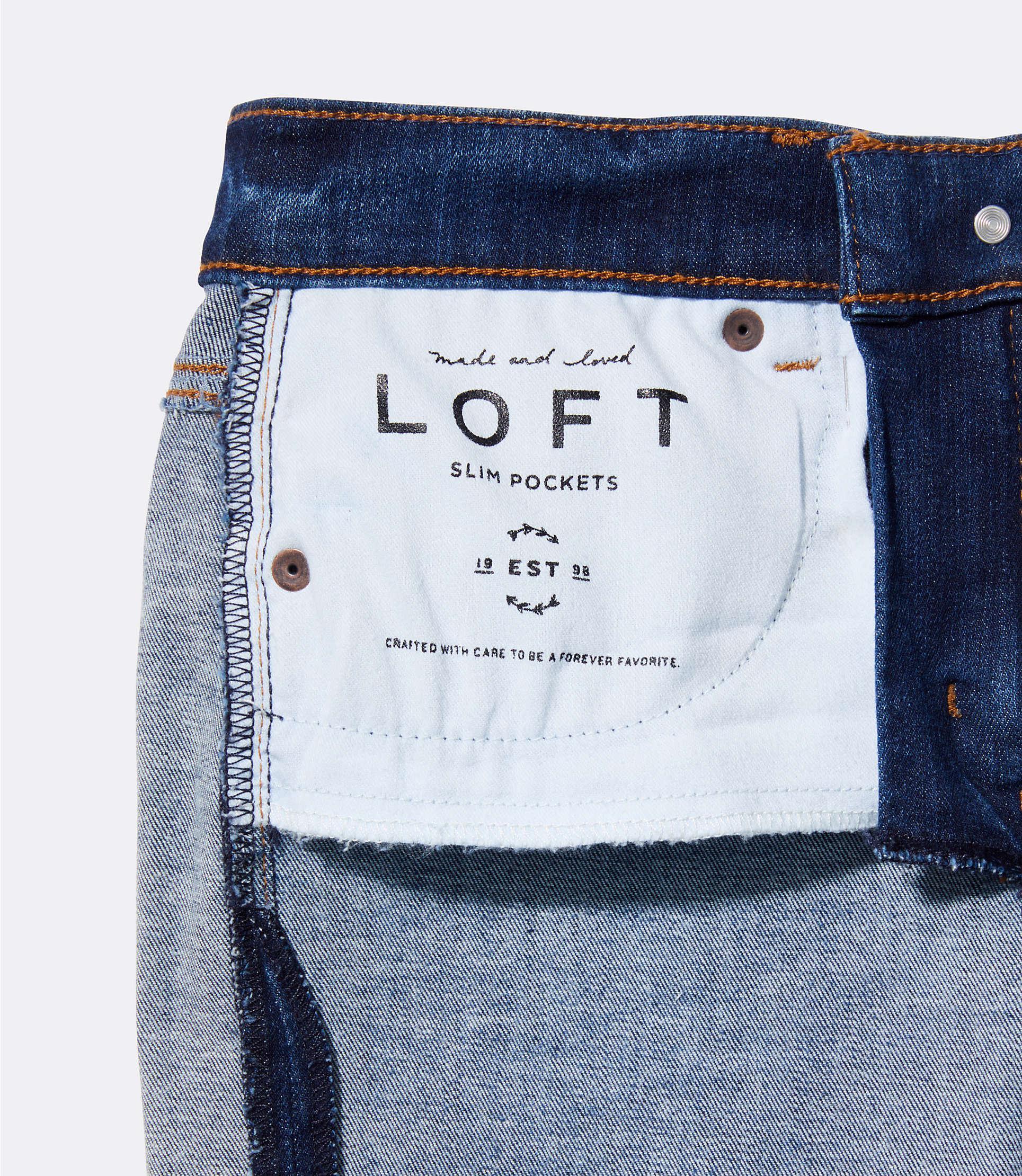d242f85fbe486 LOFT - Blue Modern Destructed Slim Pocket Skinny Jeans In Mid Indigo Wash -  Lyst. View fullscreen