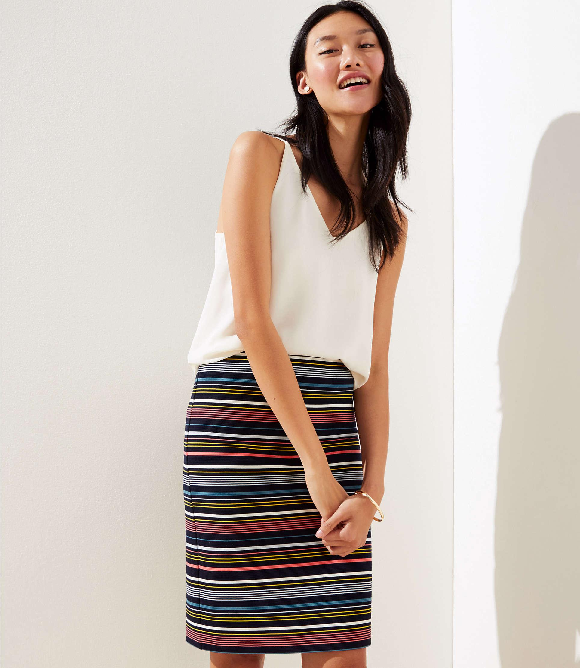 d46c0a5cad LOFT Striped Pull On Pencil Skirt in Blue - Lyst
