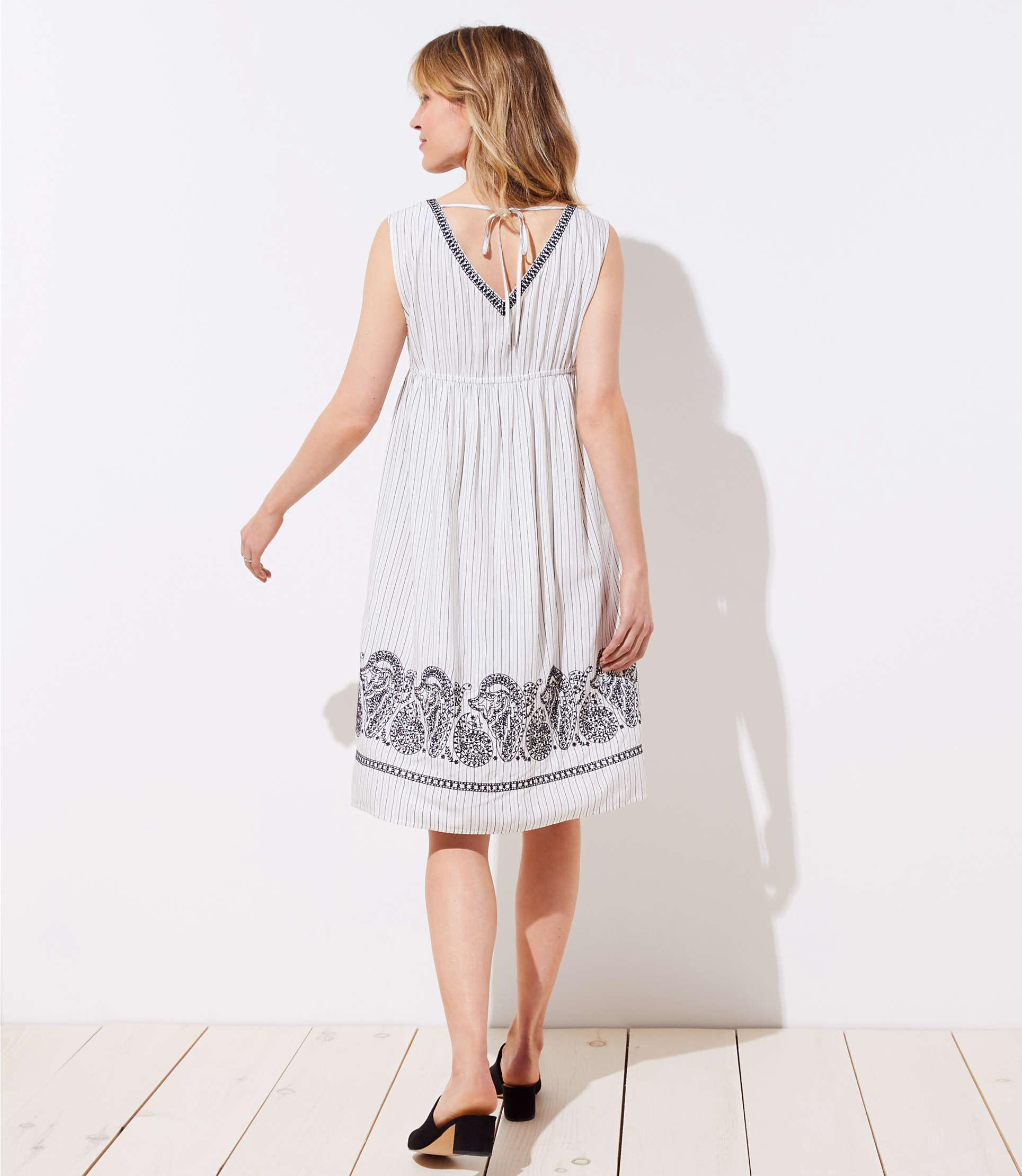 39c9233d2592b LOFT Maternity Embroidered Stripe Midi Dress in White - Lyst