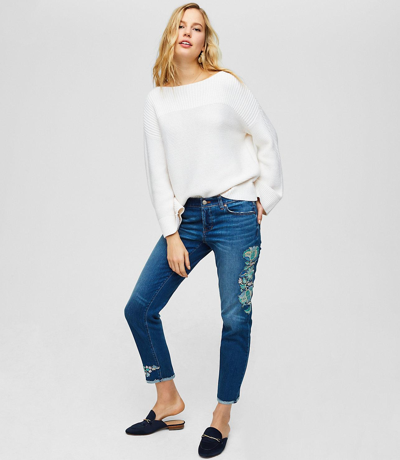 483d07938f64d Lyst - LOFT Floral Embroidered Boyfriend Jeans In Destructed Indigo ...