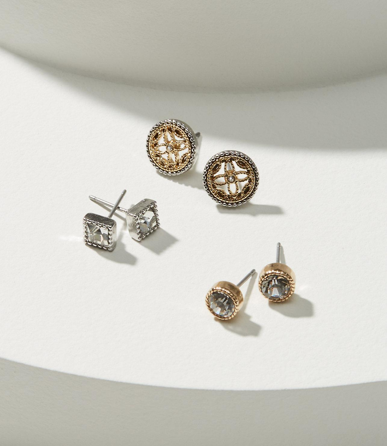 cfd3d500d LOFT Crystal Filigree Stud Earring Set in Metallic - Lyst