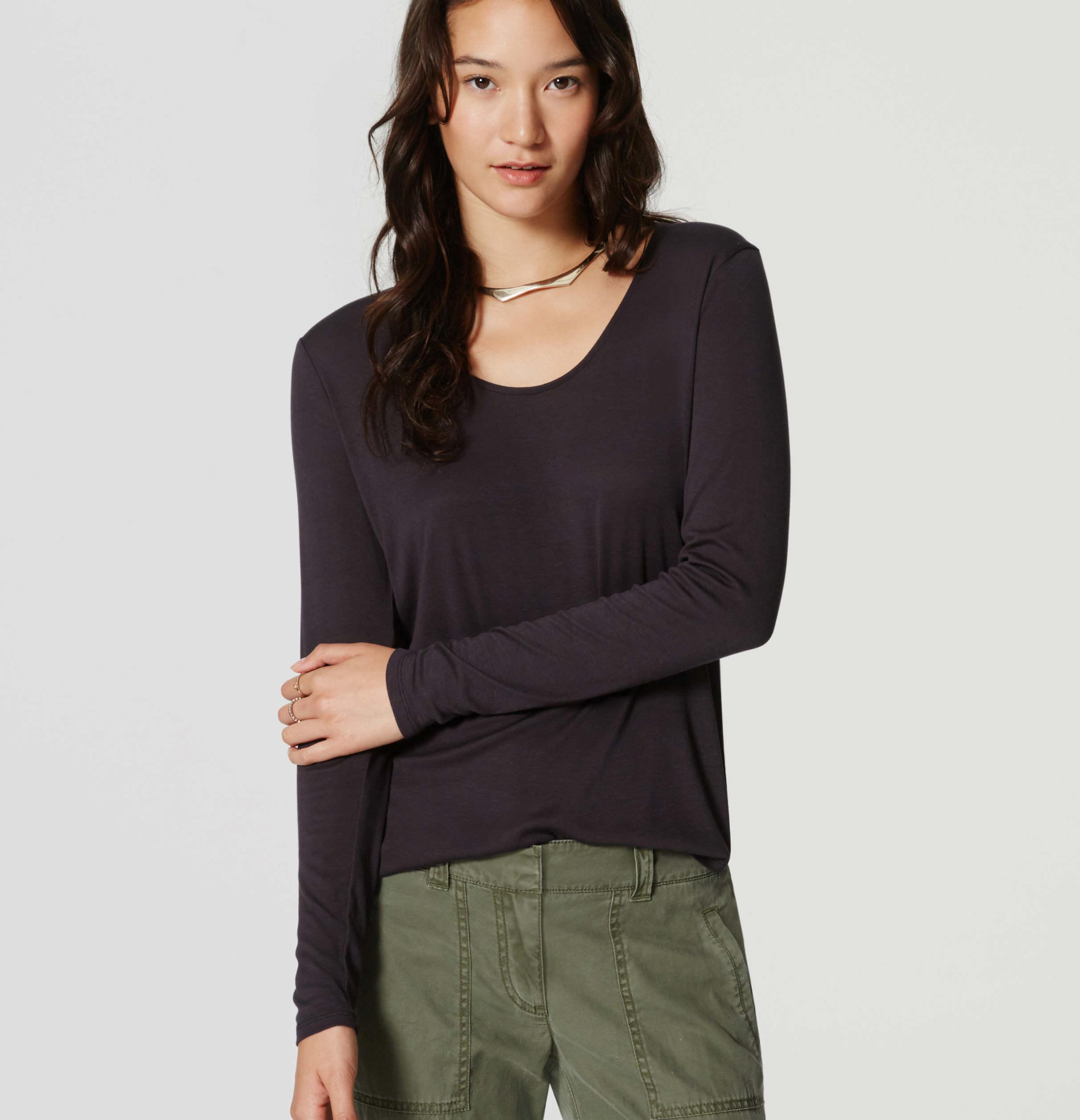 Loft long sleeve scoop neck tee in black lyst for Long sleeve scoop neck shirt