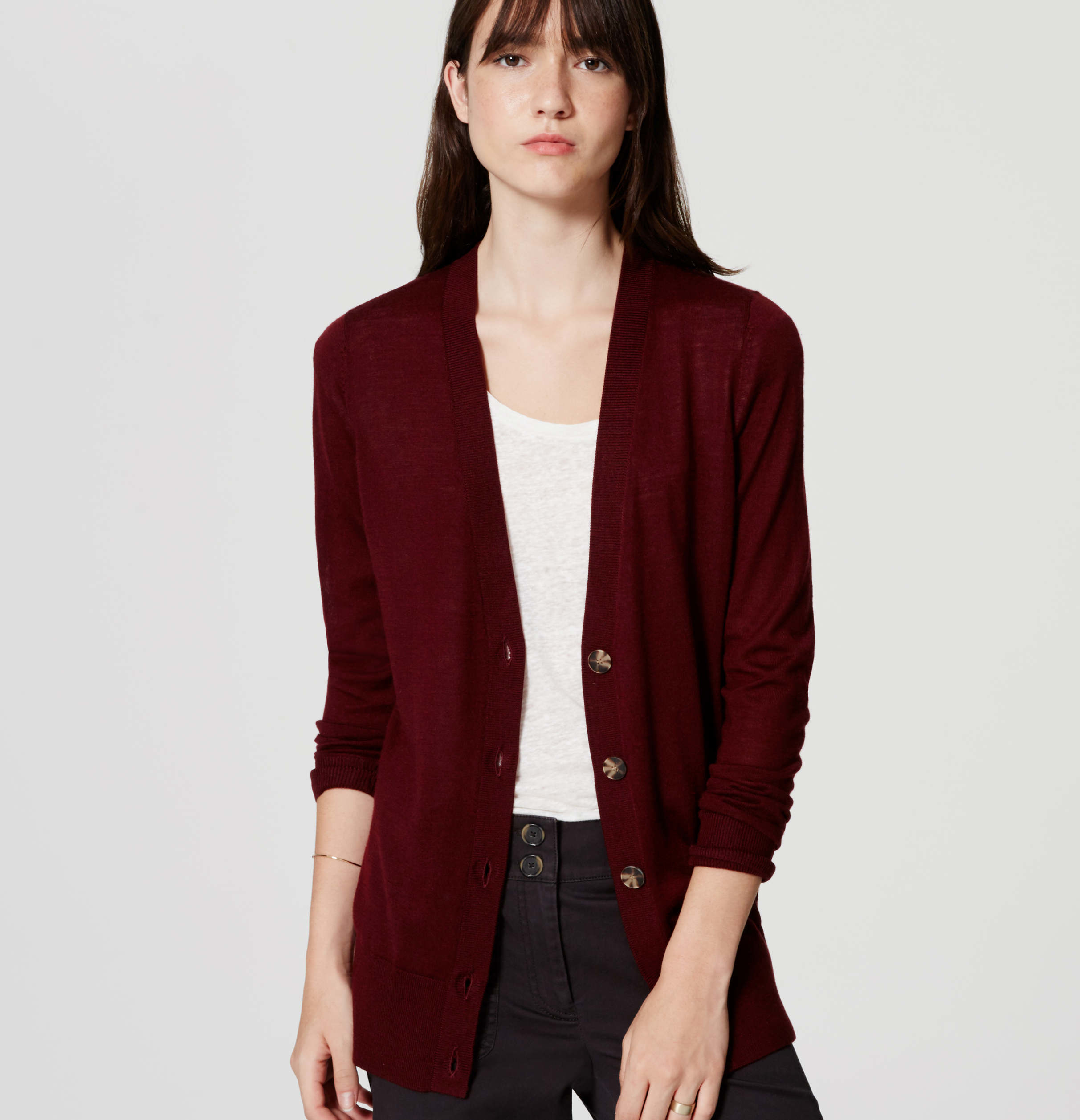 Loft Classic Boyfriend Cardigan in Red | Lyst