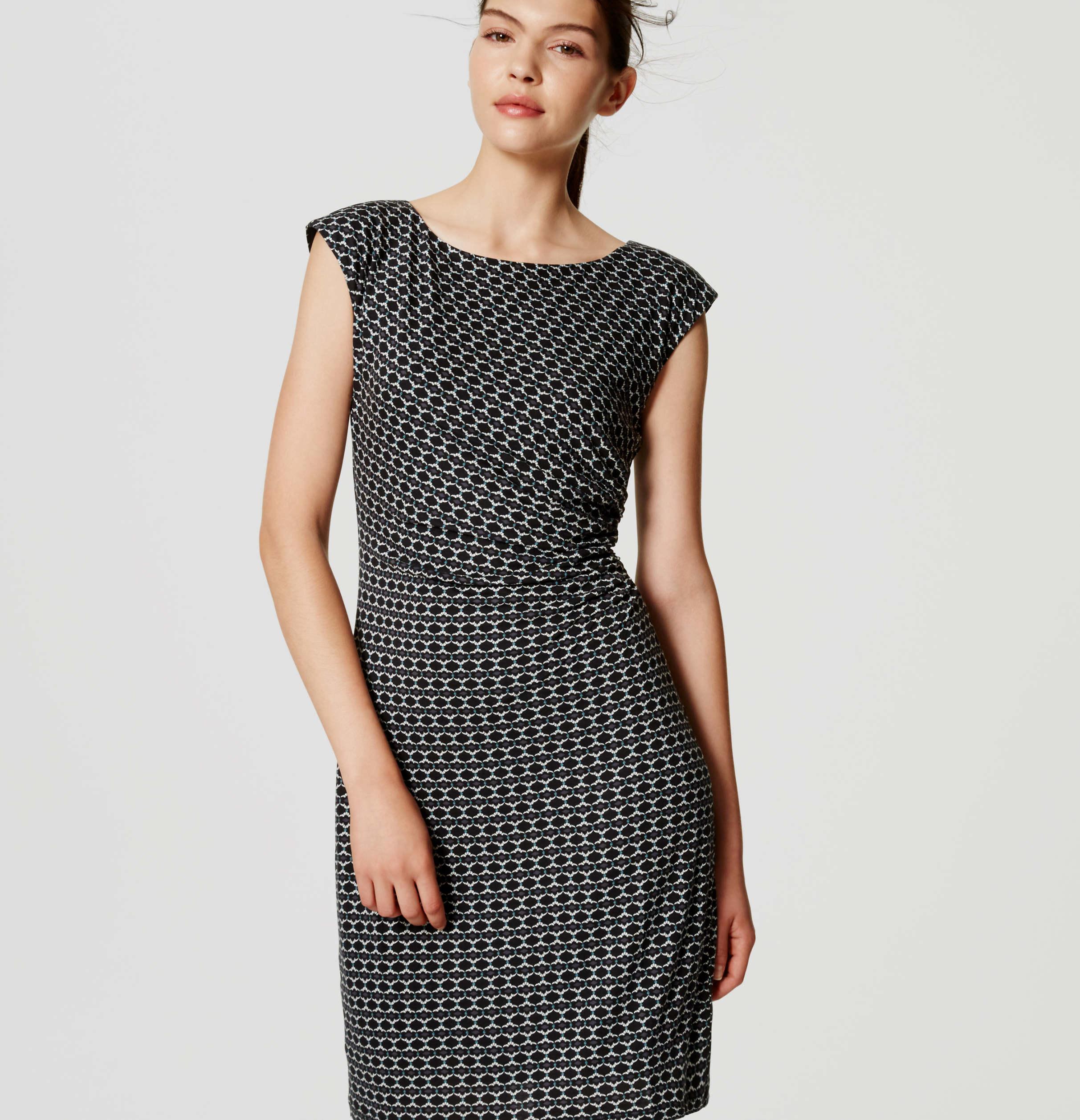 Lyst - Loft Petite Mosaic Side Shirred Dress in Black