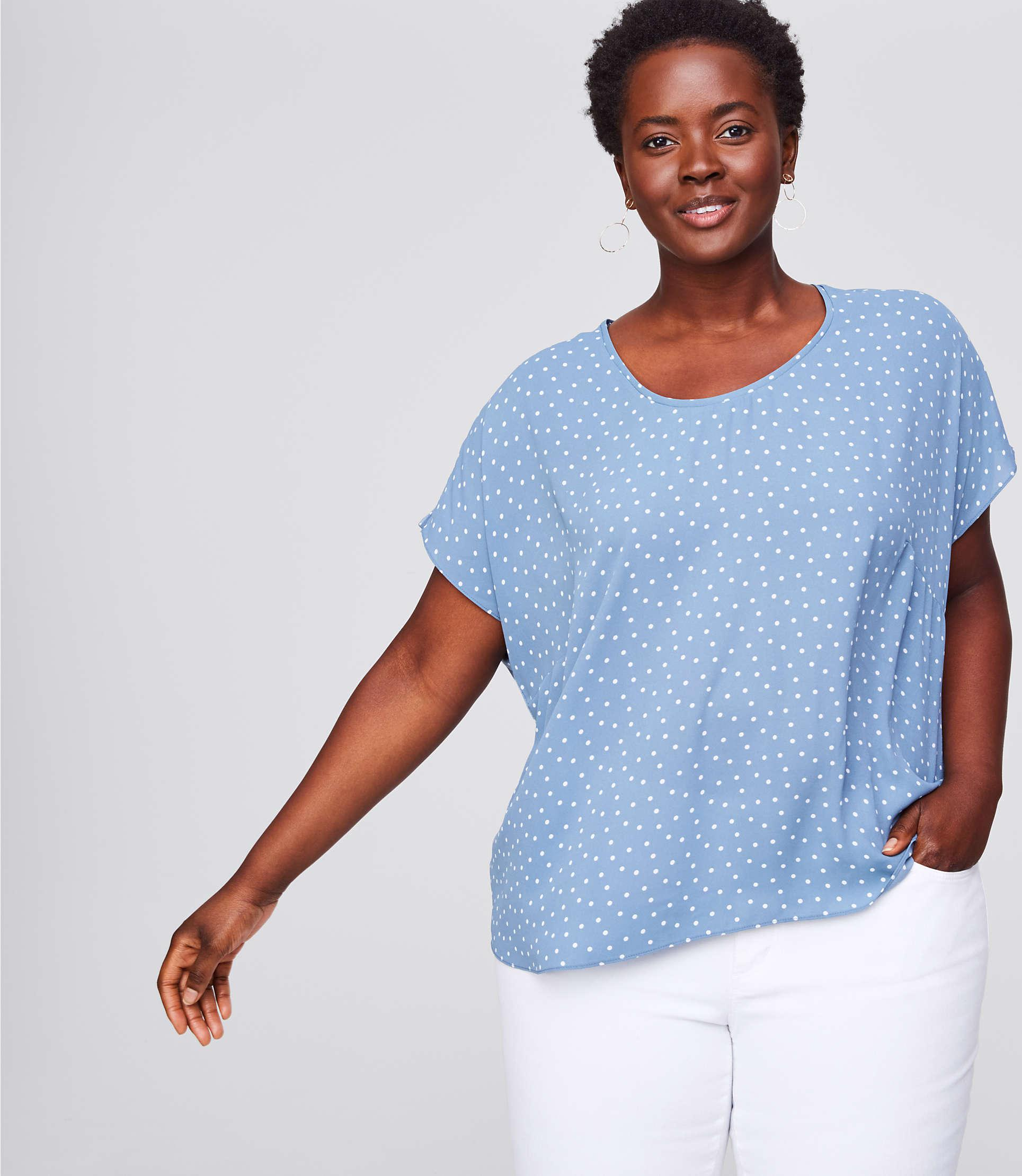 d68fa4ec0ee LOFT Plus Dotted Mixed Media Tee in Blue - Lyst