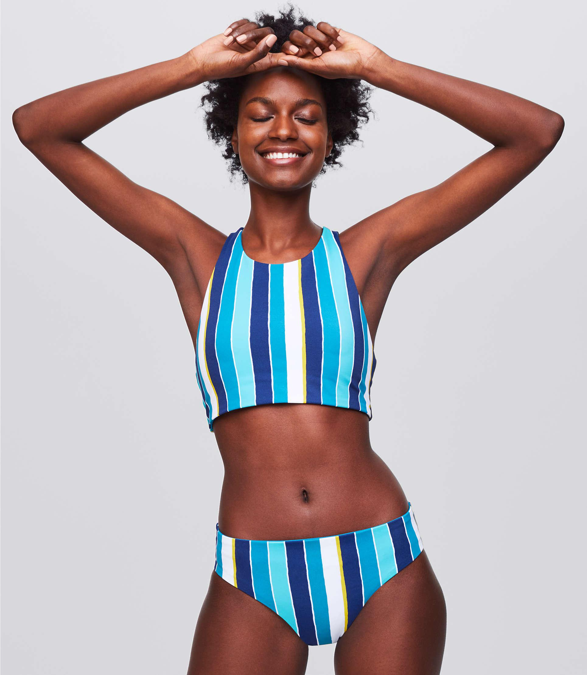cf26829f6700c LOFT - Blue Beach Striped Reversible Hipster Bikini Bottom - Lyst. View  fullscreen