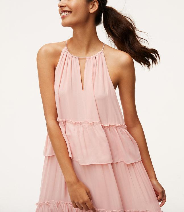 Lyst - Loft Petite Tiered Halter Maxi Dress in Pink