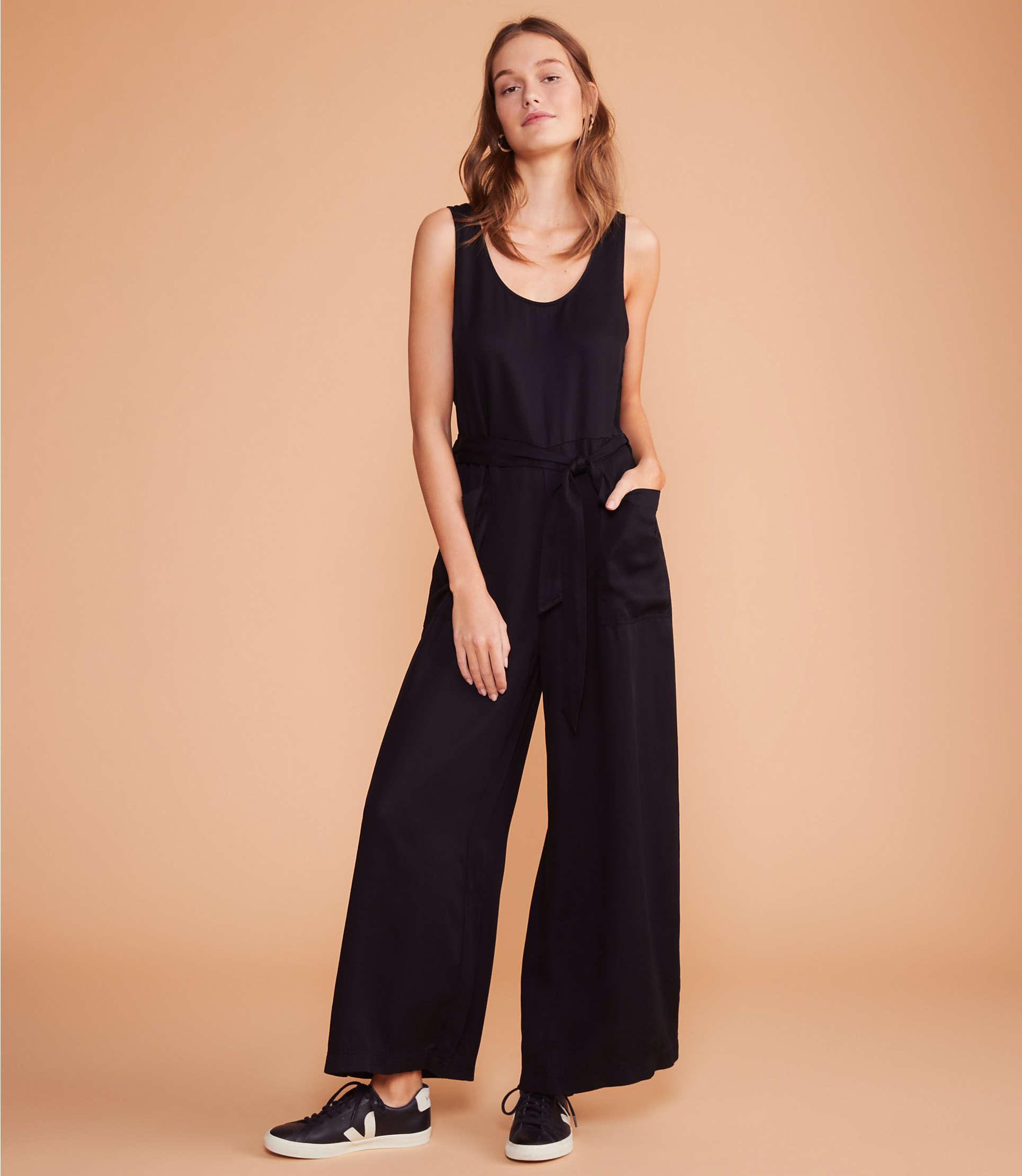 293ec78e5eb Lyst - LOFT Lou   Grey Fluid Twill Tie Waist Jumpsuit in Black