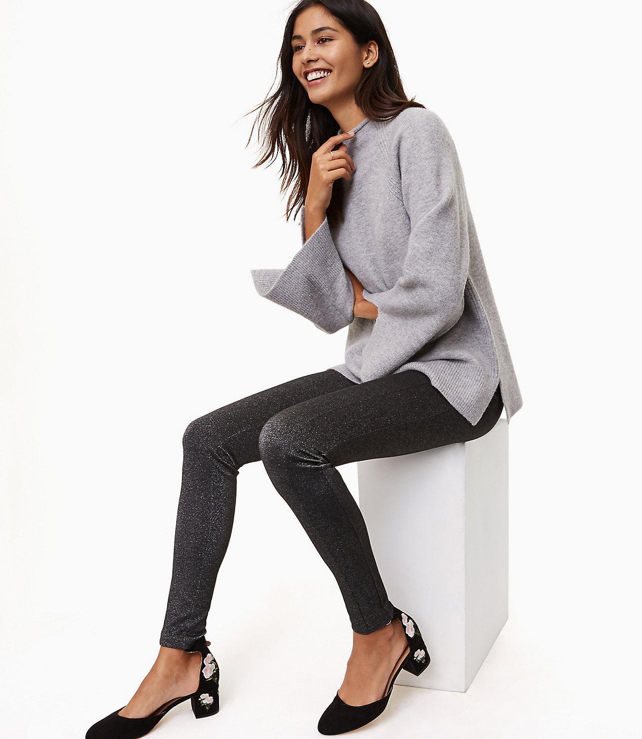 a3df1cd43bd455 Lyst - LOFT Petite Leggings In Shimmer in Gray
