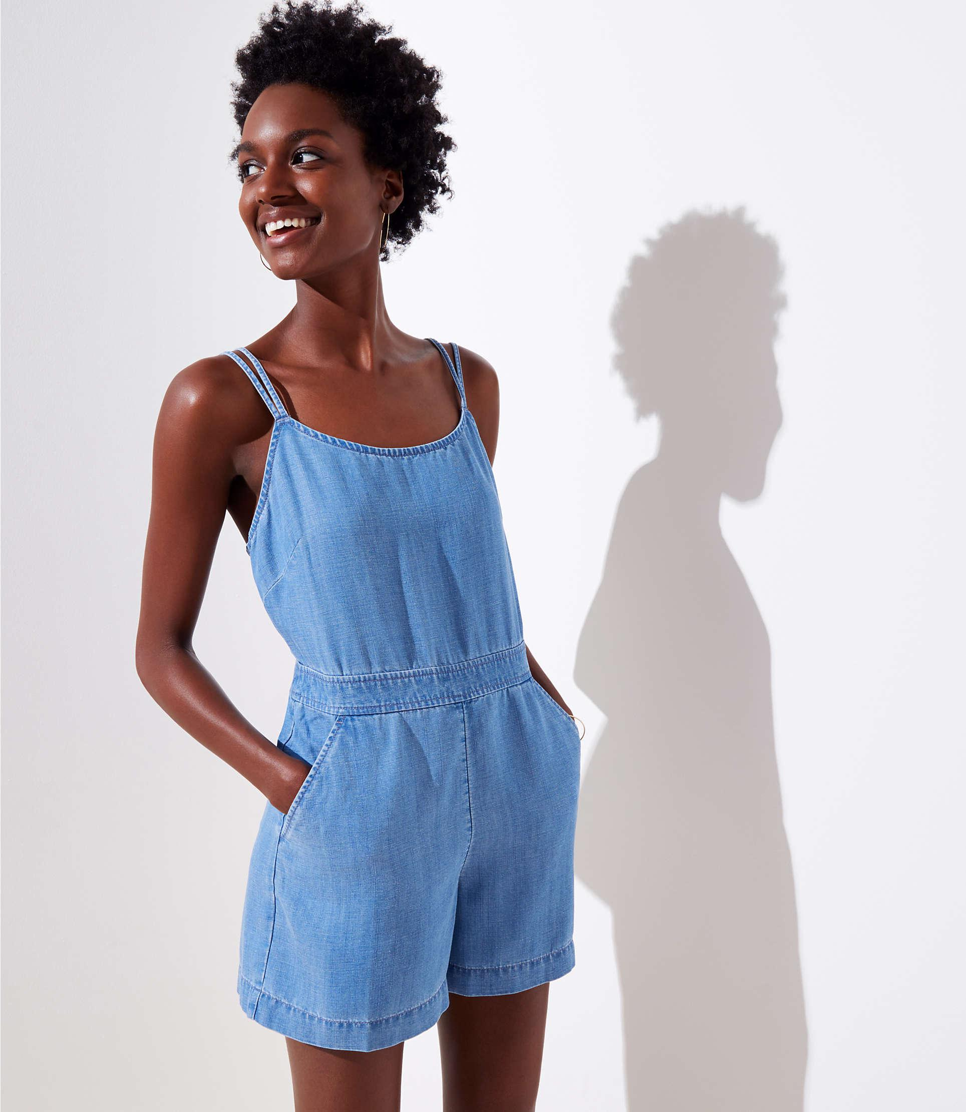 3b53d8ef4733 LOFT Petite Strappy Chambray Romper in Blue - Lyst