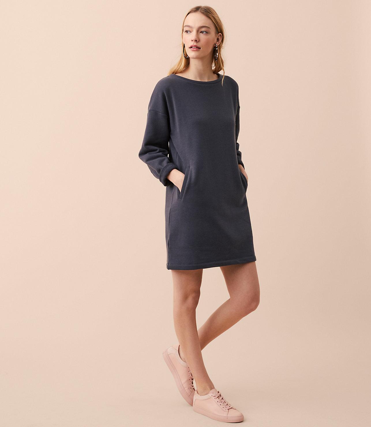 ce045ea2770 Lyst - LOFT Lou   Grey Pocket Sweatshirt Dress in Gray