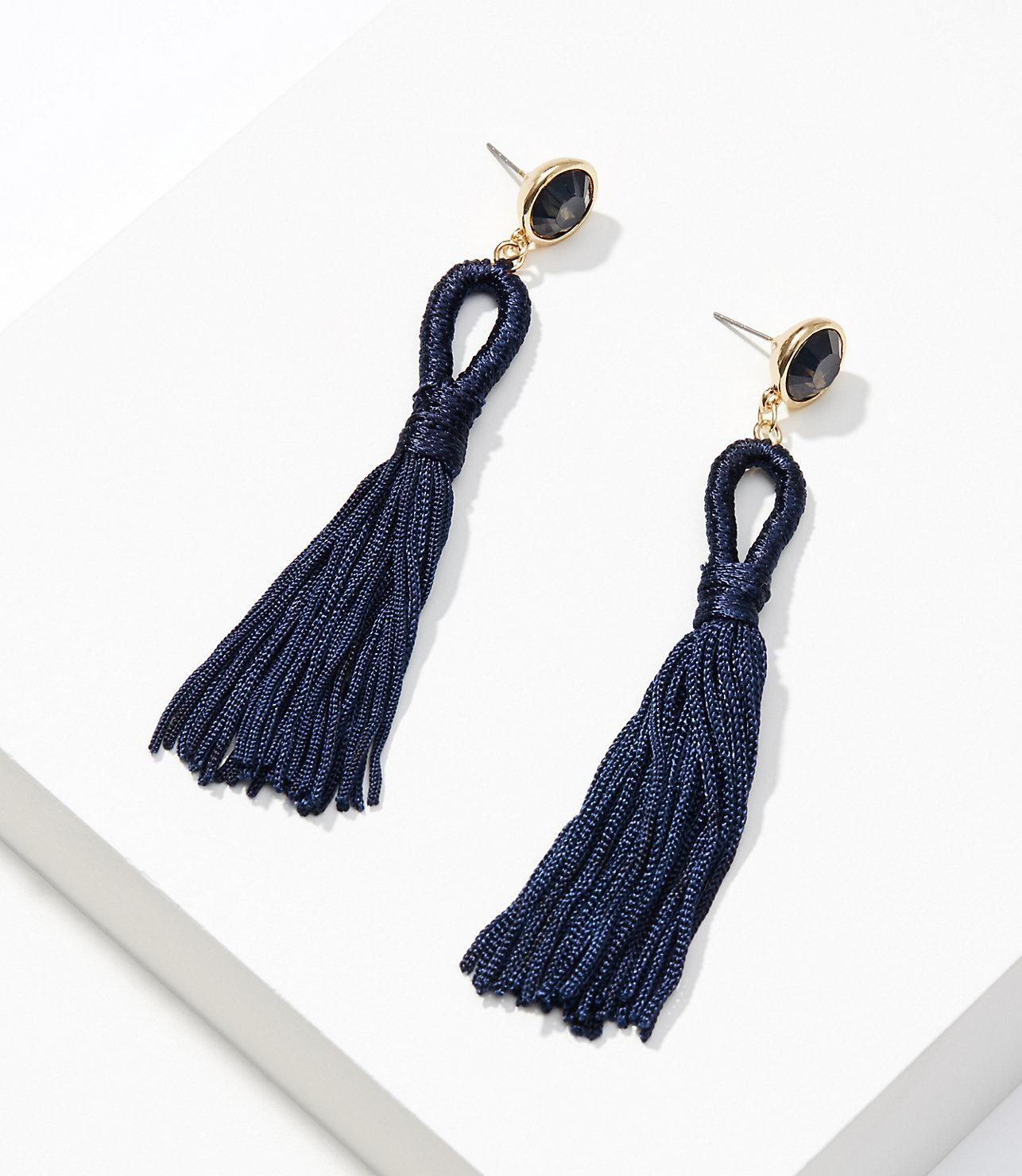 2ee7a56f0 LOFT Stone Tassel Earrings in Blue - Lyst