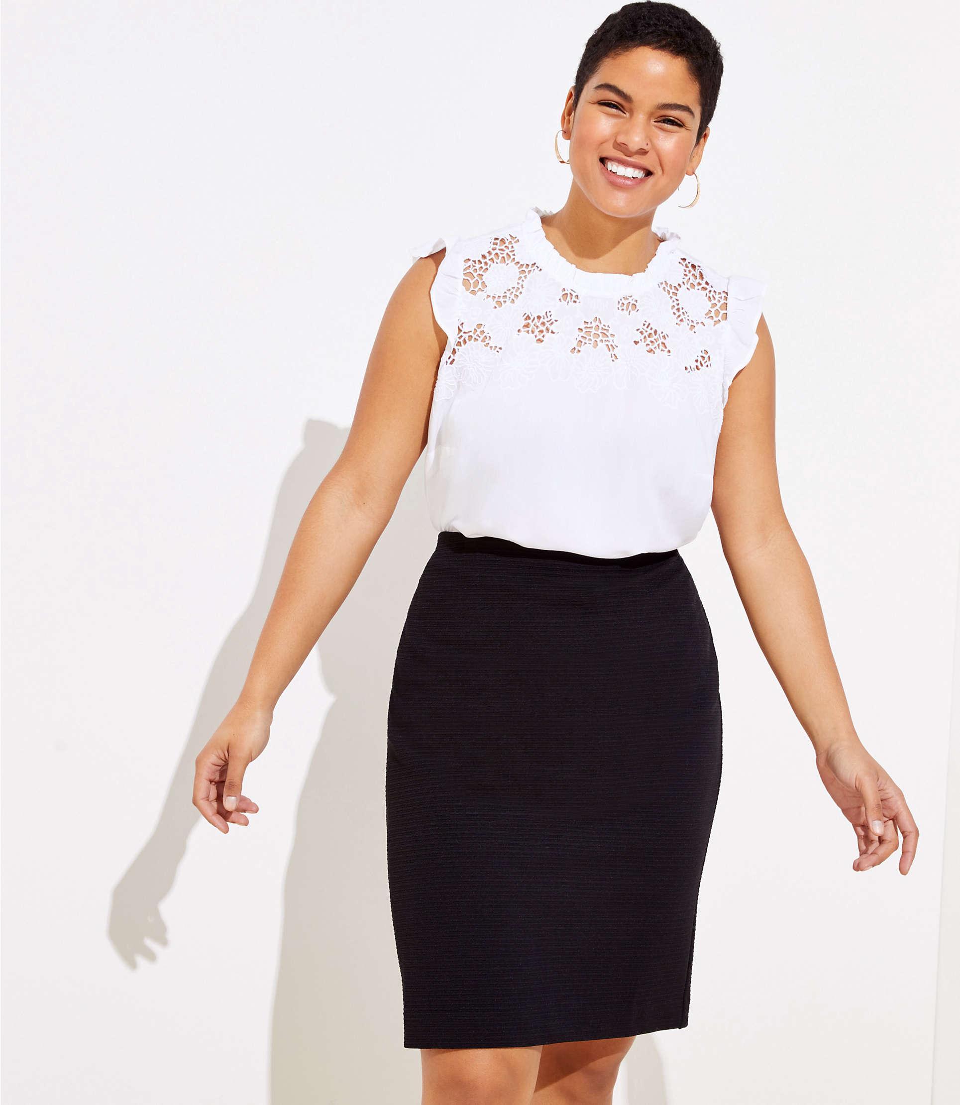 8386d1850b LOFT Plus Knit Pull On Pencil Skirt in Black - Lyst