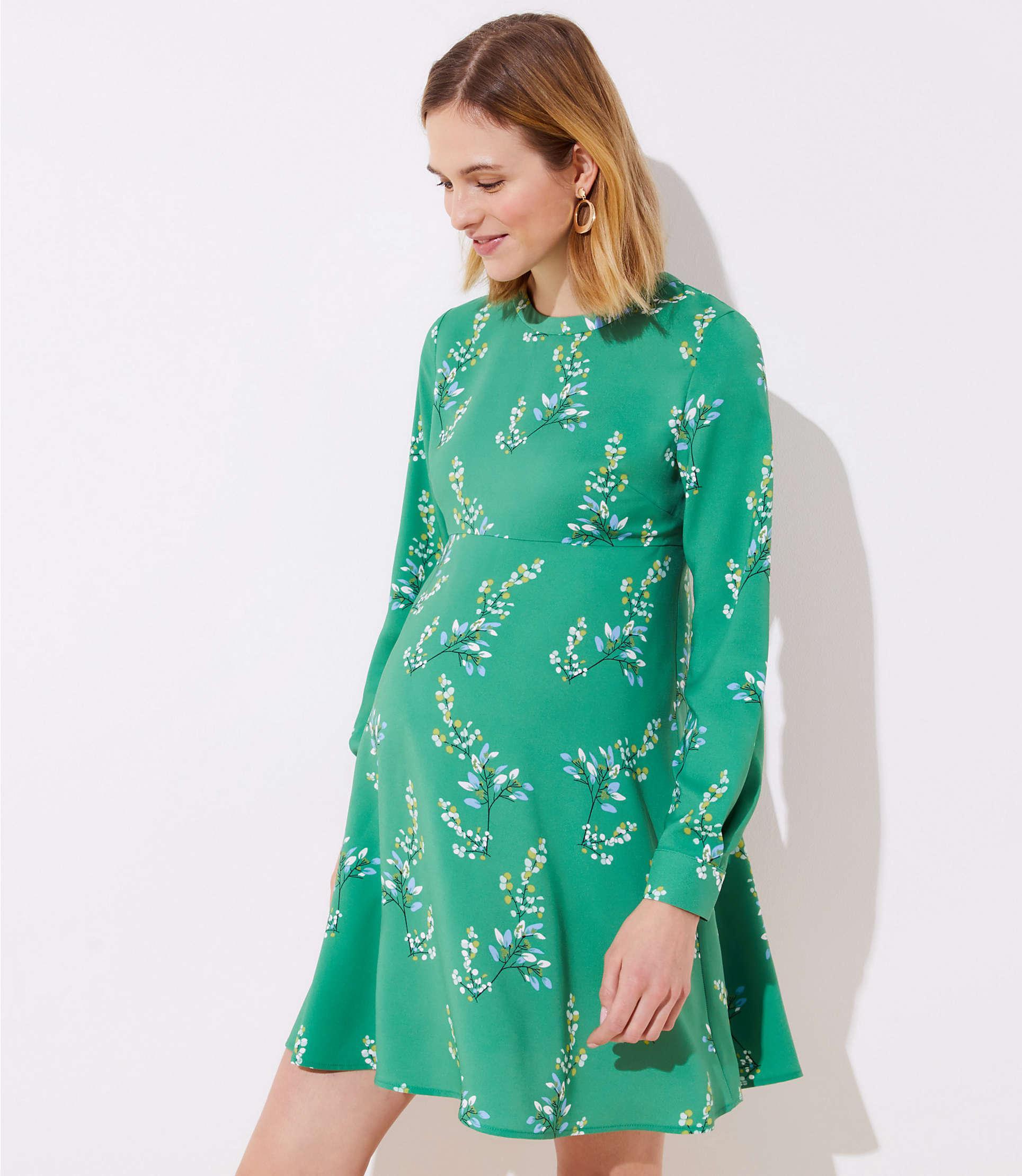 552ebfad LOFT - Green Maternity Flower Branch Flare Shirtdress - Lyst. View  fullscreen