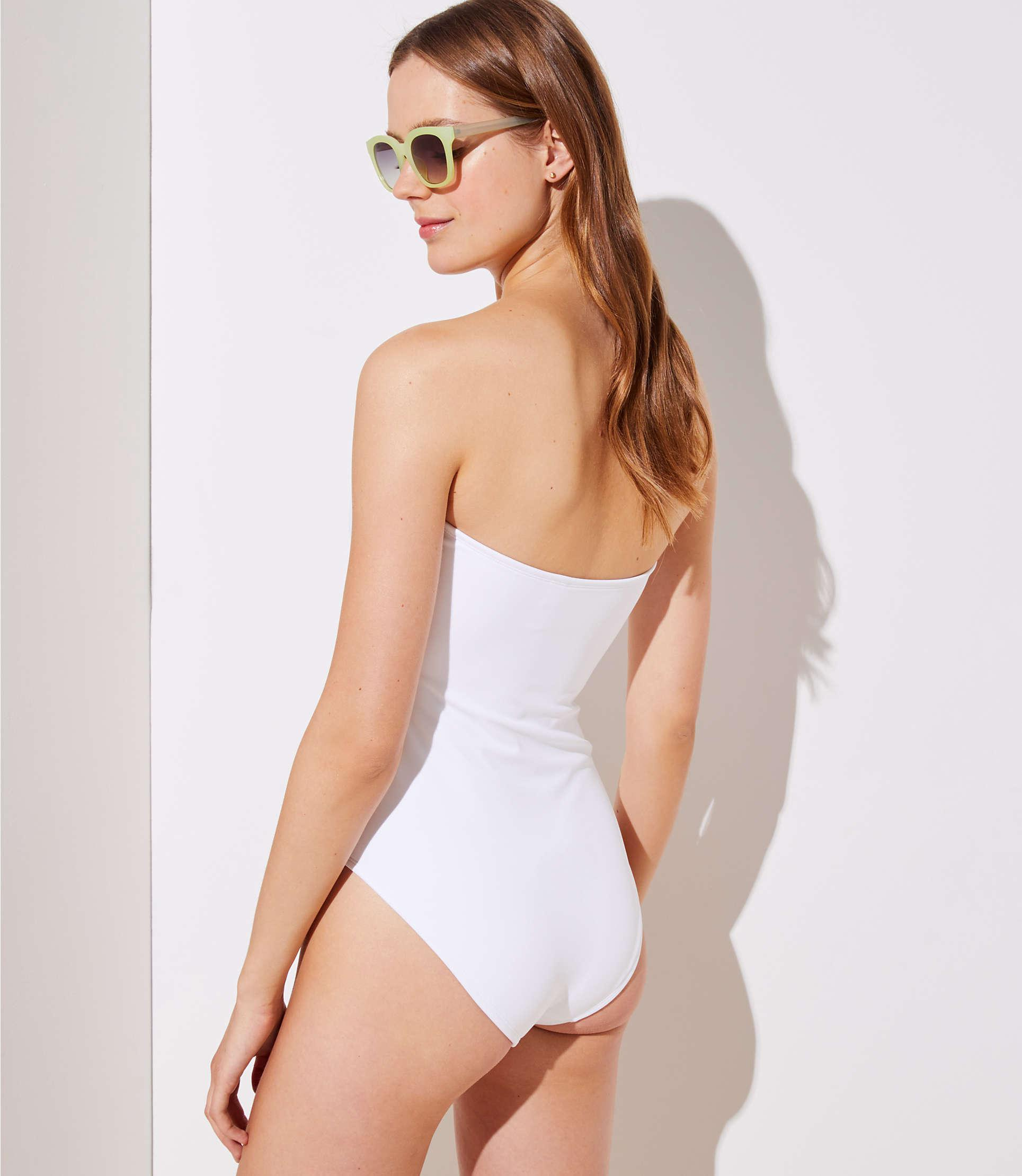 859c175754 LOFT Beach Lace Up Strapless One Piece Swimsuit in White - Lyst