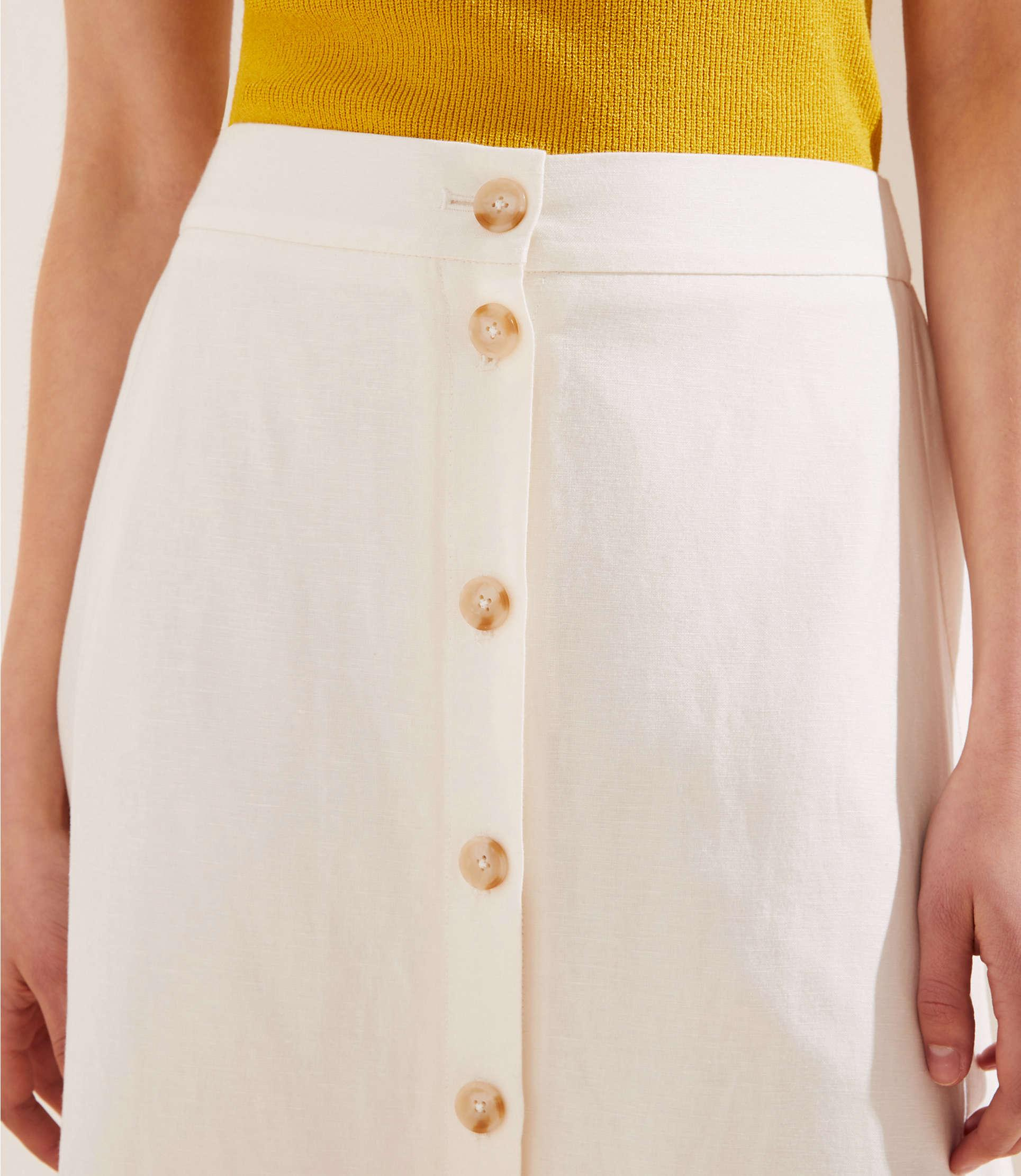 3ff800a10e7 ... Petite Button Front Midi Skirt - Lyst. View fullscreen
