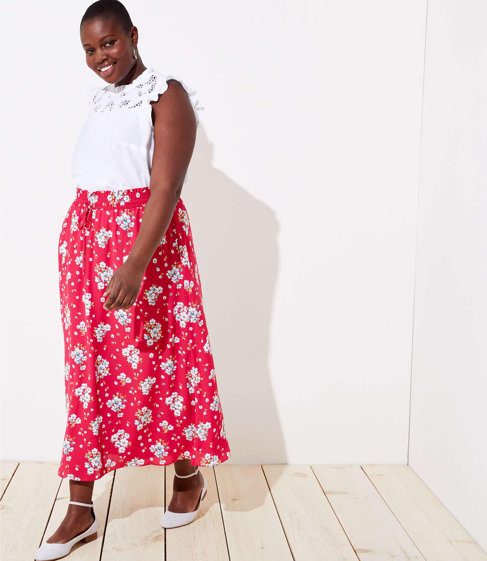 a09aaf4209 LOFT - Red Plus Floral Smocked Maxi Skirt - Lyst. View fullscreen