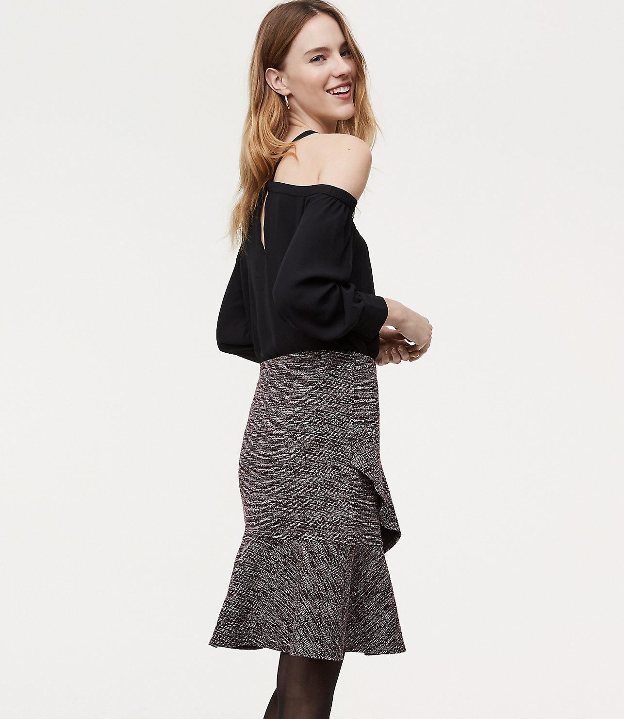 ba6a747b353 LOFT Tweed Ruffle Wrap Skirt in Black - Lyst