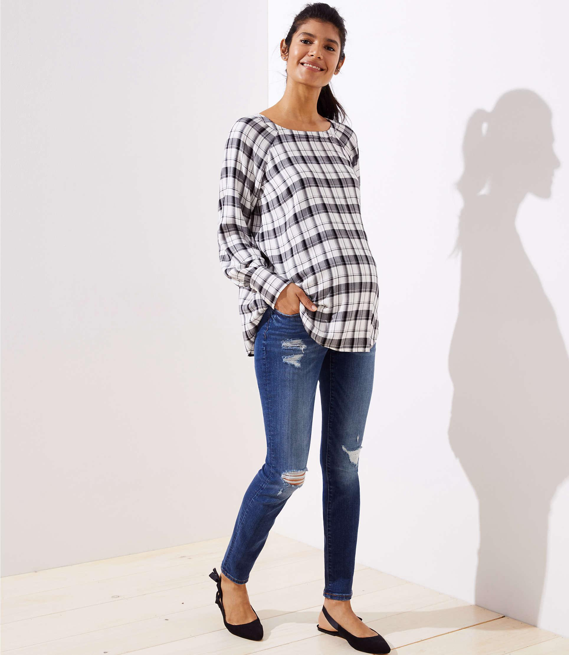 adc5b718780ef LOFT - Blue Petite Maternity Destructed Skinny Jeans In Mid Indigo Wash -  Lyst. View fullscreen