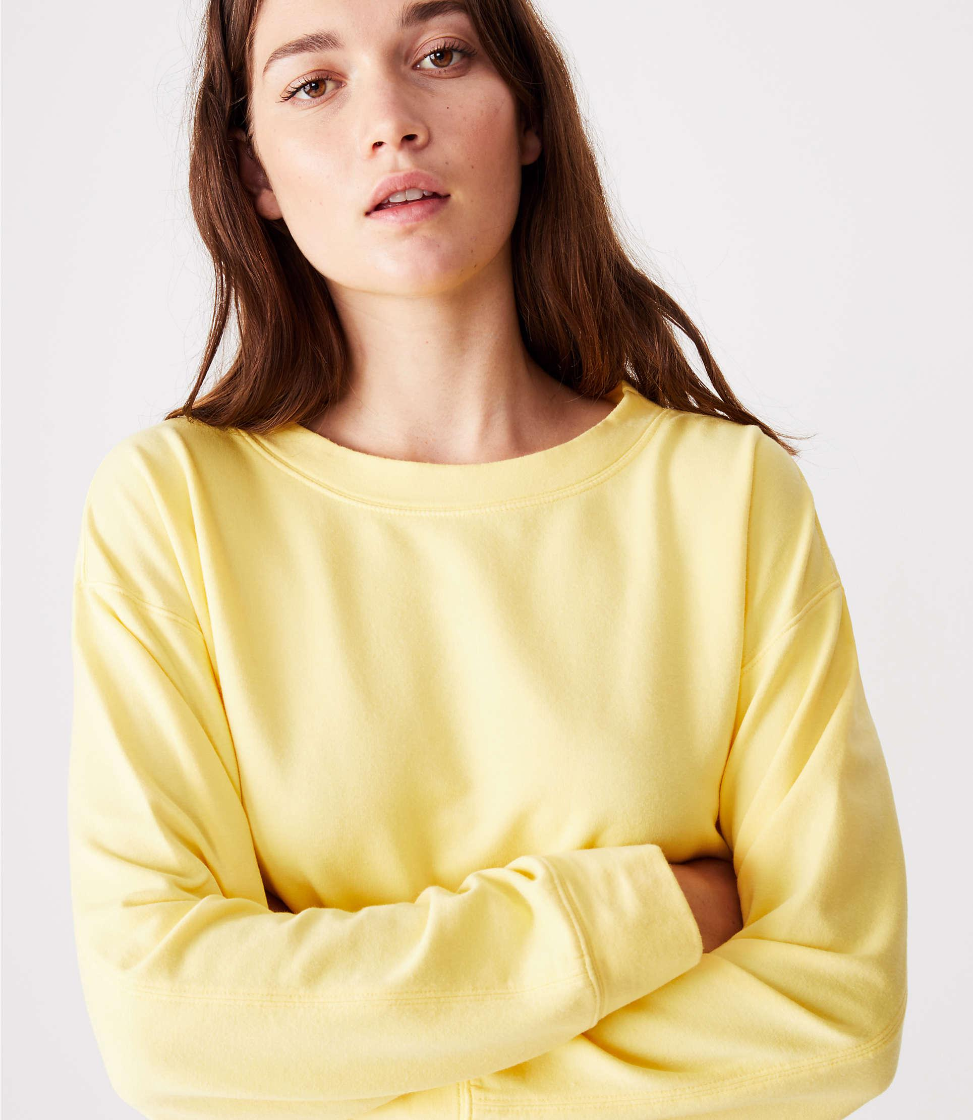 6437e74b501bf Lyst - LOFT Lou   Grey Garment Dye Sweatshirt Top in Yellow