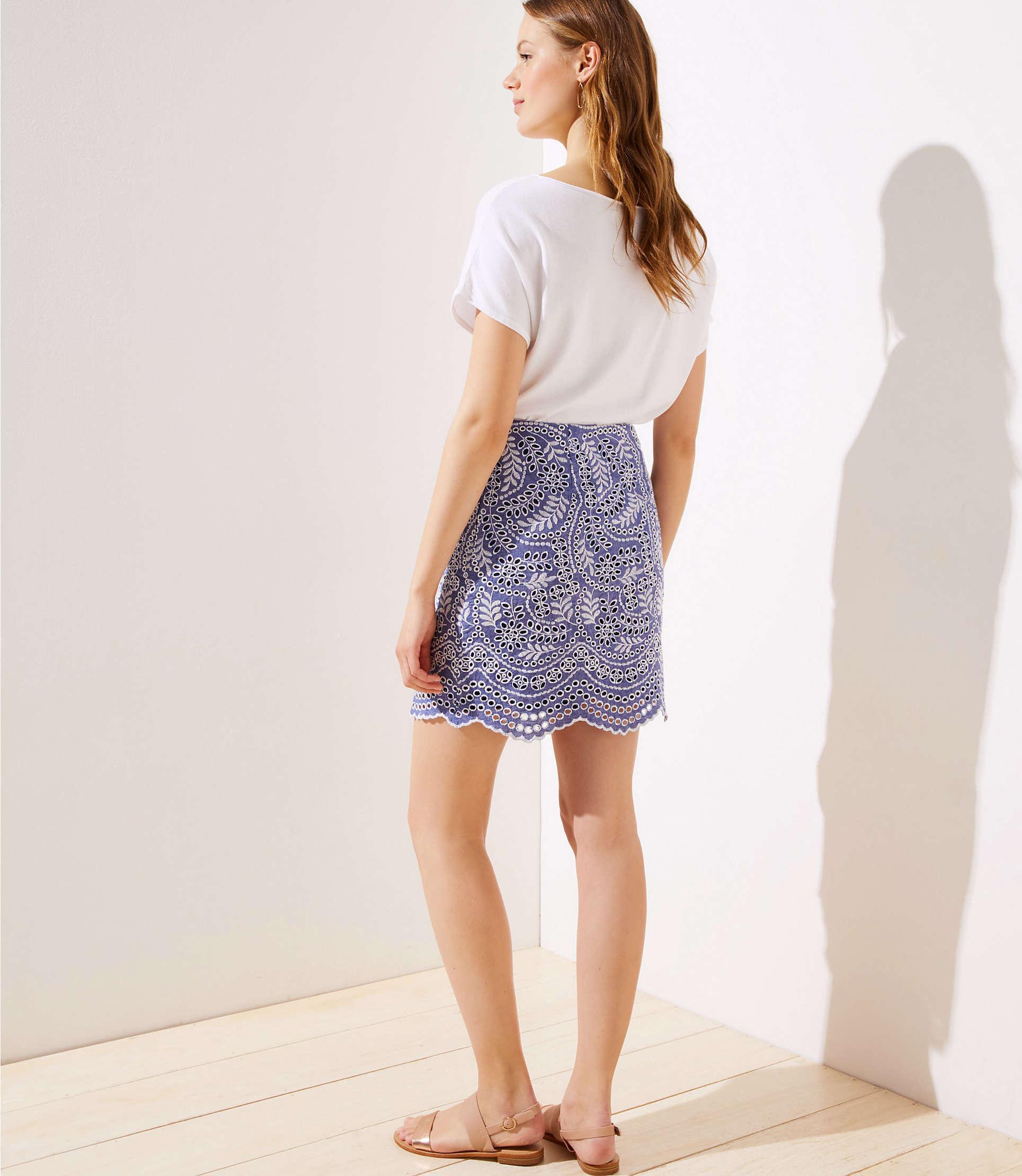 68d16184bf57 ... Scalloped Embroidered Eyelet Skirt - Lyst. View fullscreen
