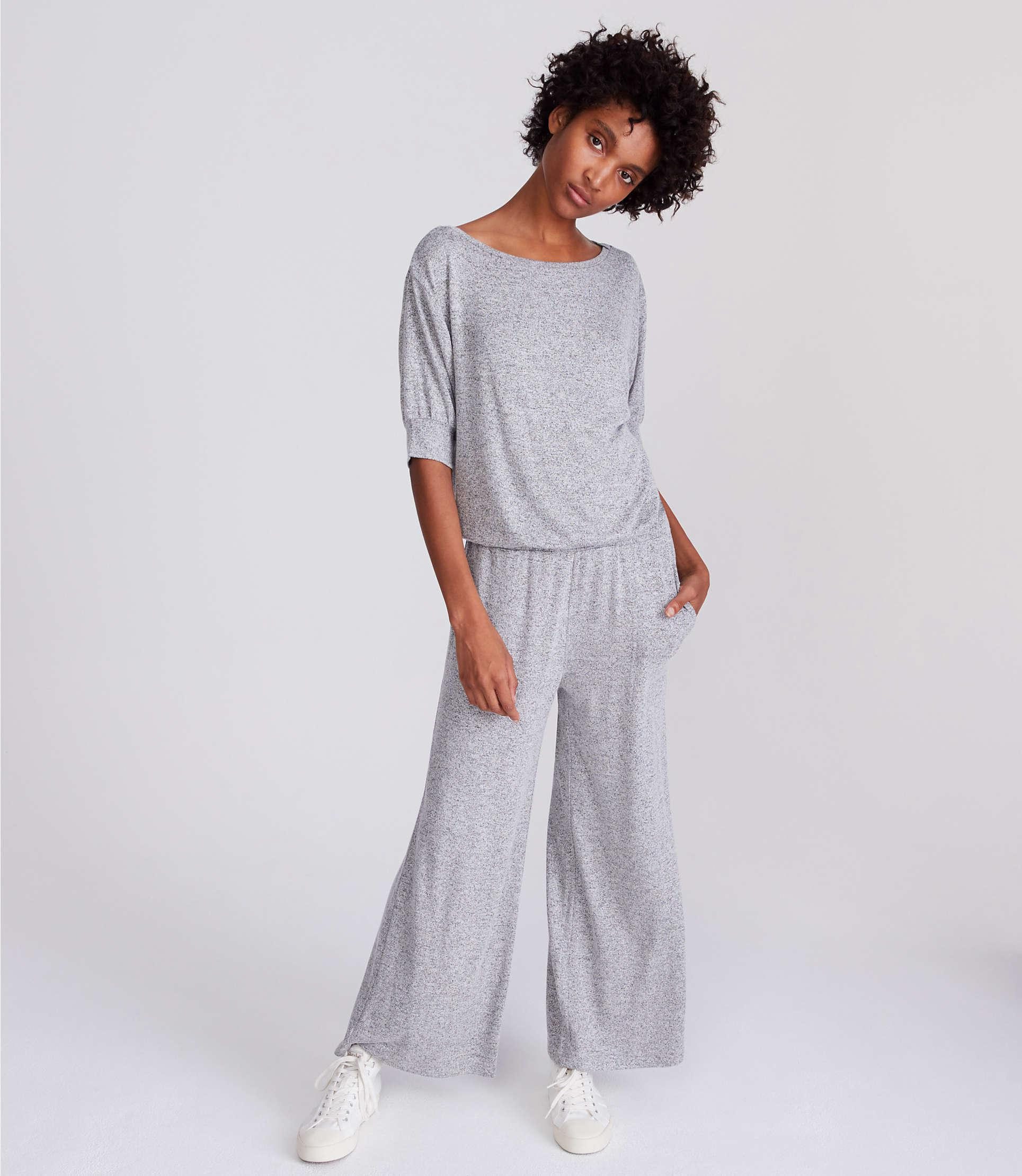 7c95fa29a7f Lyst - LOFT Lou   Grey Tucked Jumpsuit in Gray