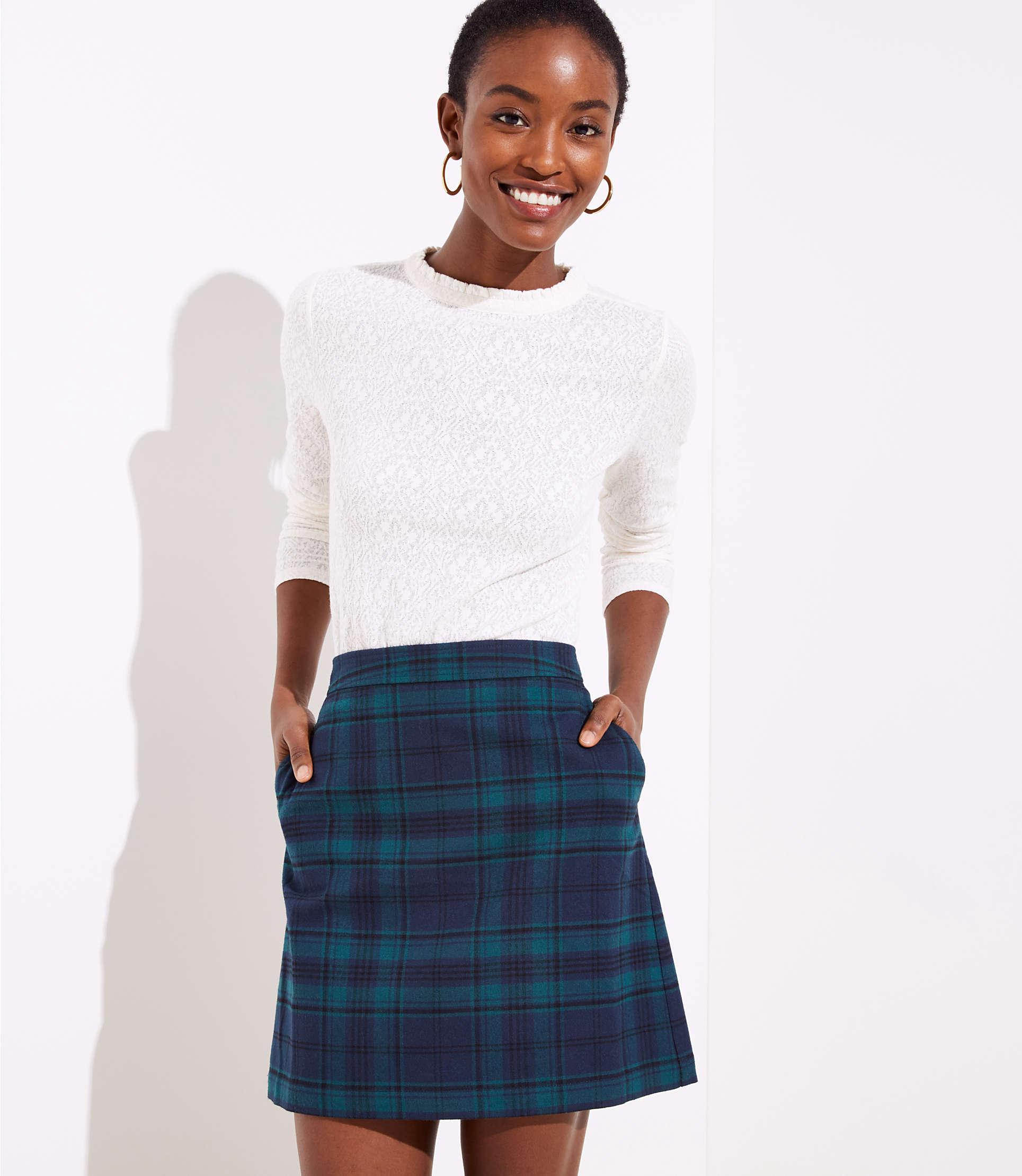 0e7aa8630 Lyst - LOFT Plaid Pocket Shift Skirt in Blue - Save 39.0625%