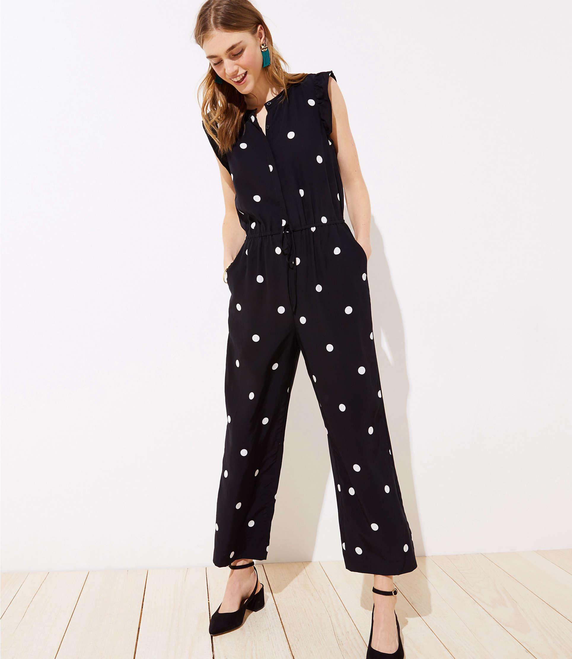 ce224361c481 Lyst - LOFT Dotted Flutter Drawstring Jumpsuit in Black - Save 31%